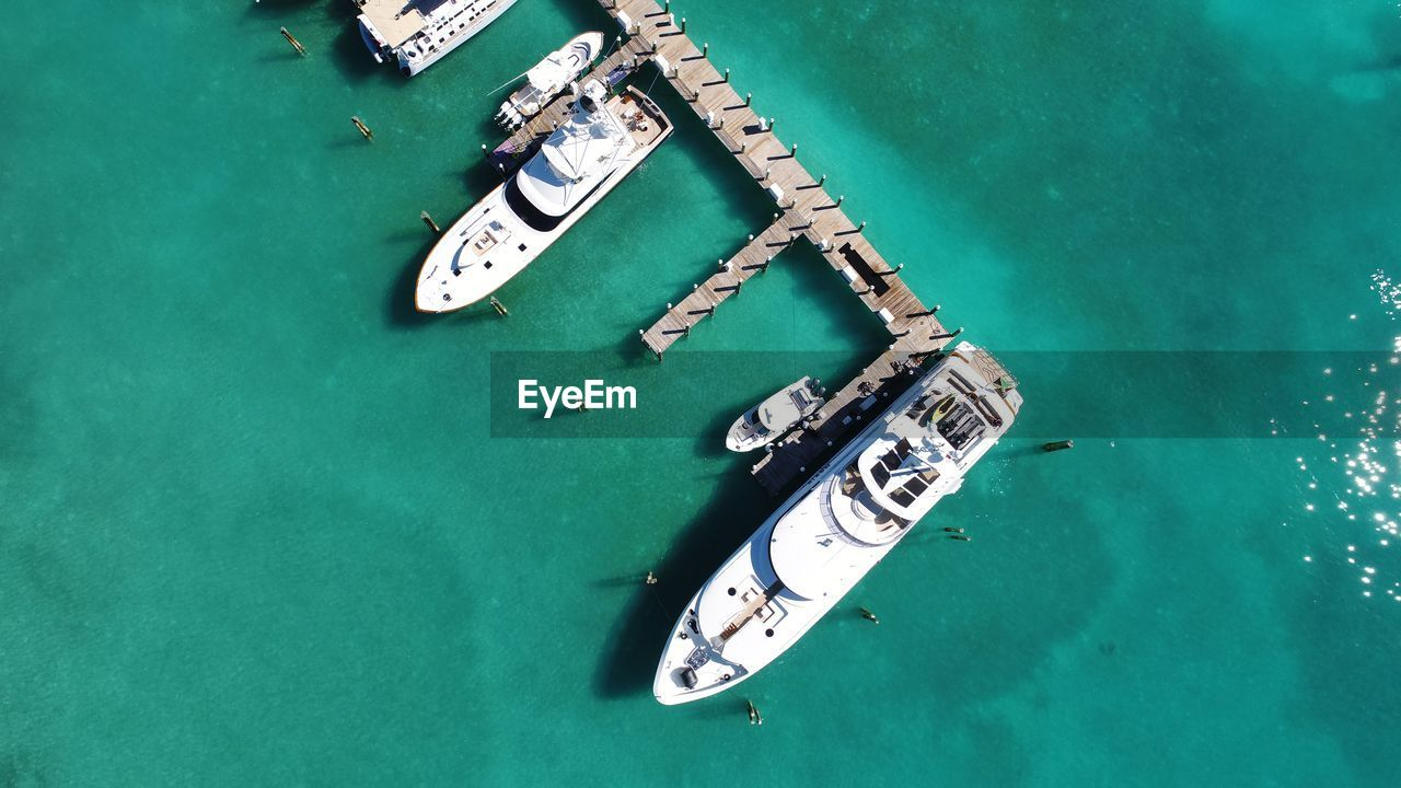 Directly above shot of yachts moored in sea