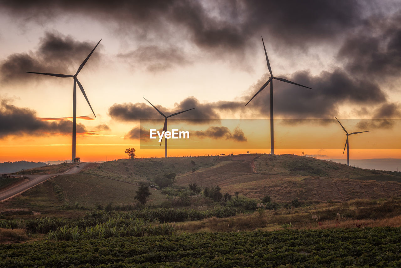 environment, wind turbine, fuel and power generation, turbine, renewable energy, sky, alternative energy, wind power, environmental conservation, landscape, sunset, cloud - sky, field, land, nature, scenics - nature, beauty in nature, rural scene, technology, non-urban scene, no people, outdoors, sustainable resources