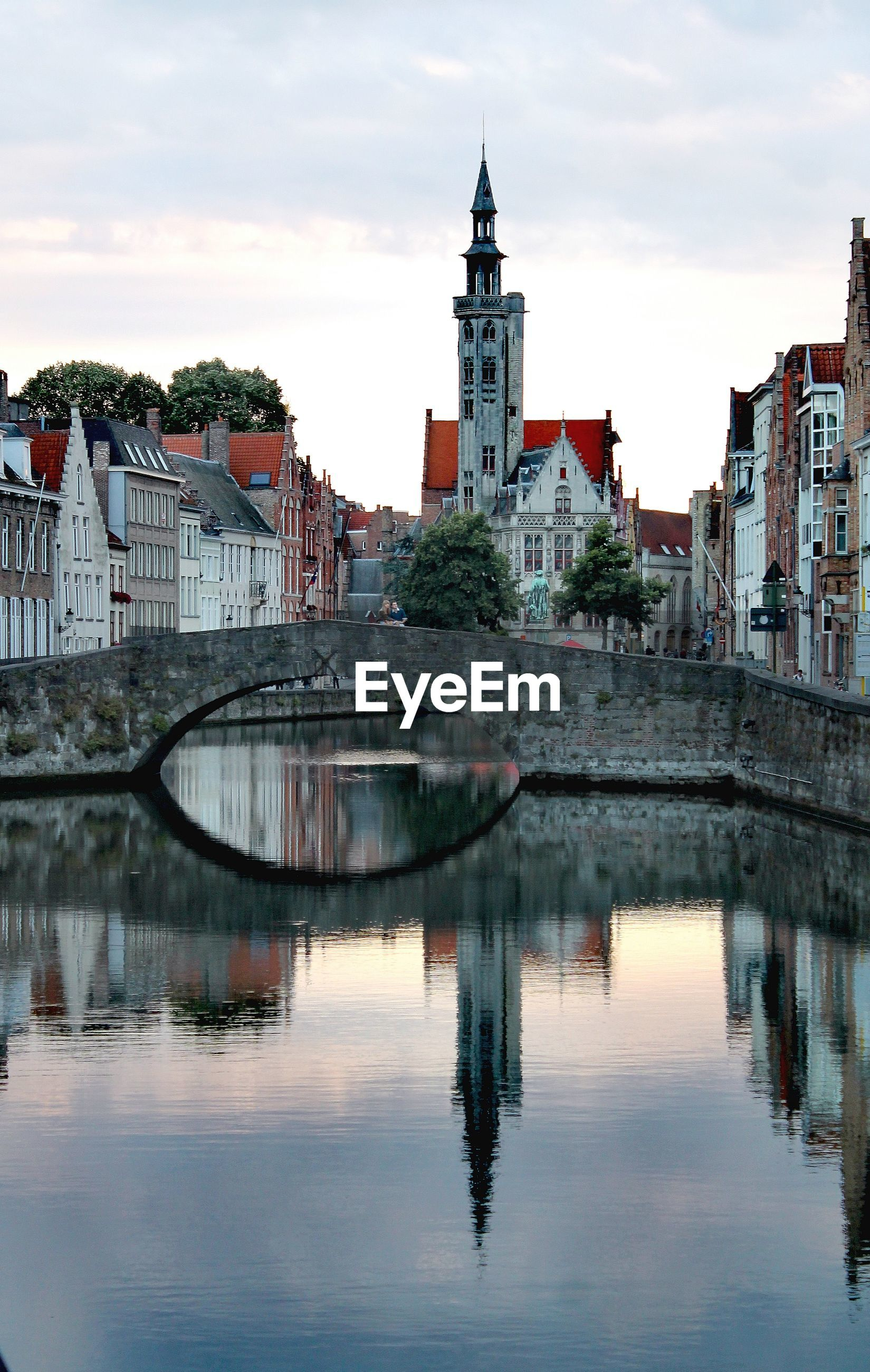 Bridge over the canals of brugge and jan van eick square.