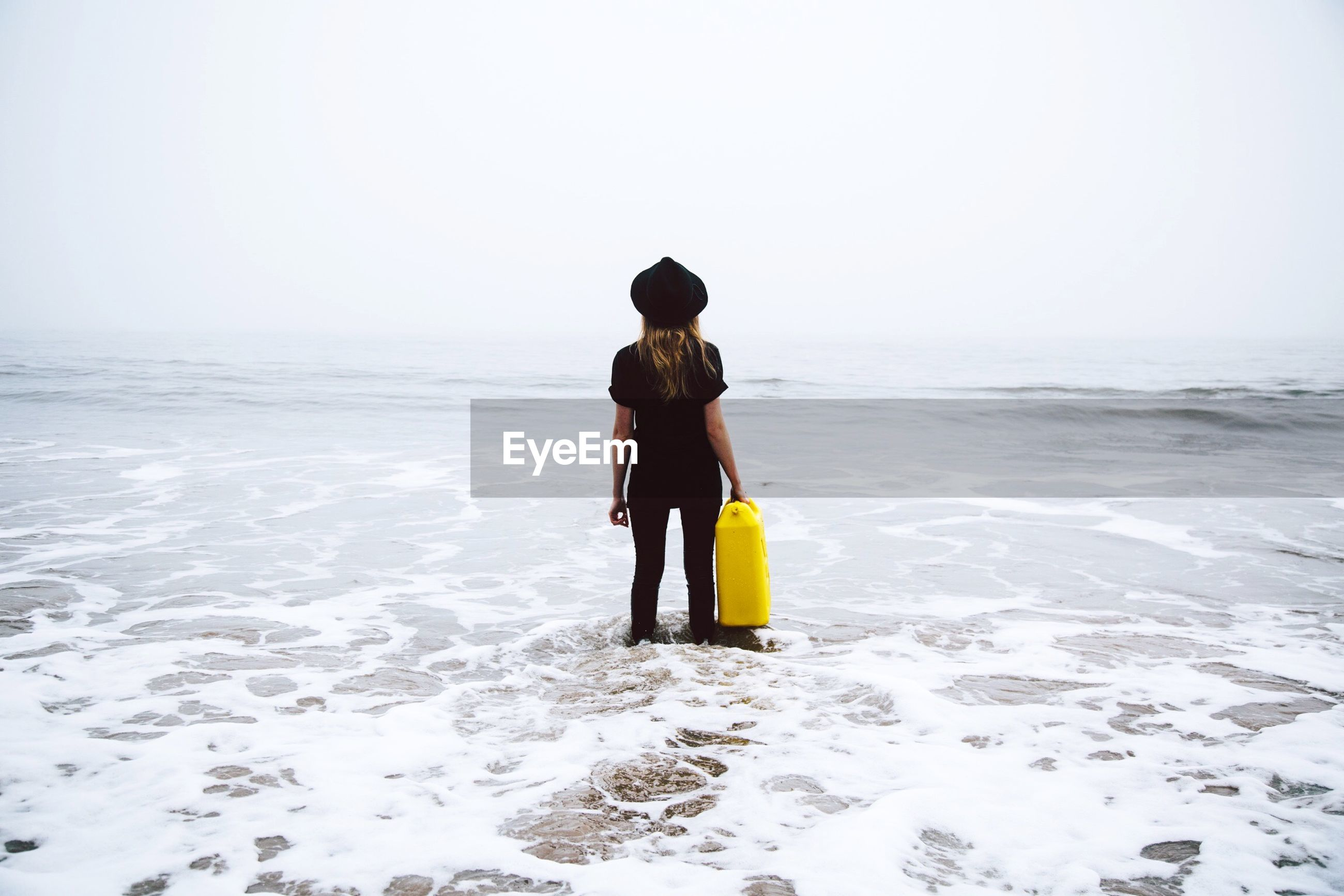 Rear view of woman standing on shore against sky