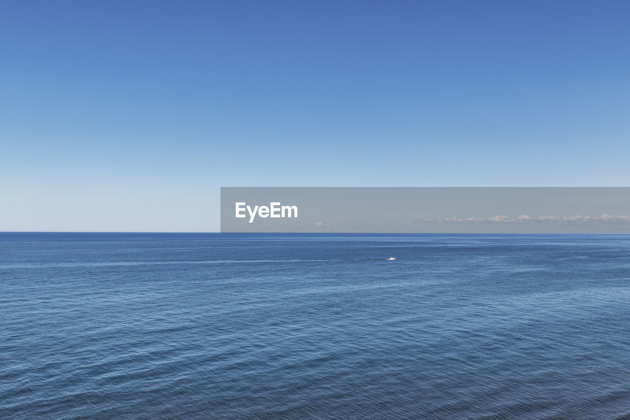 scenics - nature, sky, sea, water, beauty in nature, tranquility, horizon over water, horizon, tranquil scene, blue, copy space, clear sky, waterfront, idyllic, nature, no people, non-urban scene, day, remote, outdoors