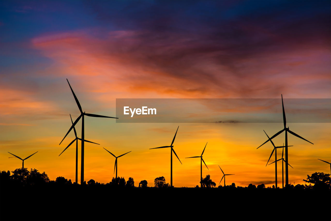renewable energy, environmental conservation, alternative energy, fuel and power generation, wind turbine, wind power, sunset, turbine, sky, silhouette, environment, orange color, cloud - sky, nature, beauty in nature, technology, field, land, scenics - nature, no people, sustainable resources, power supply