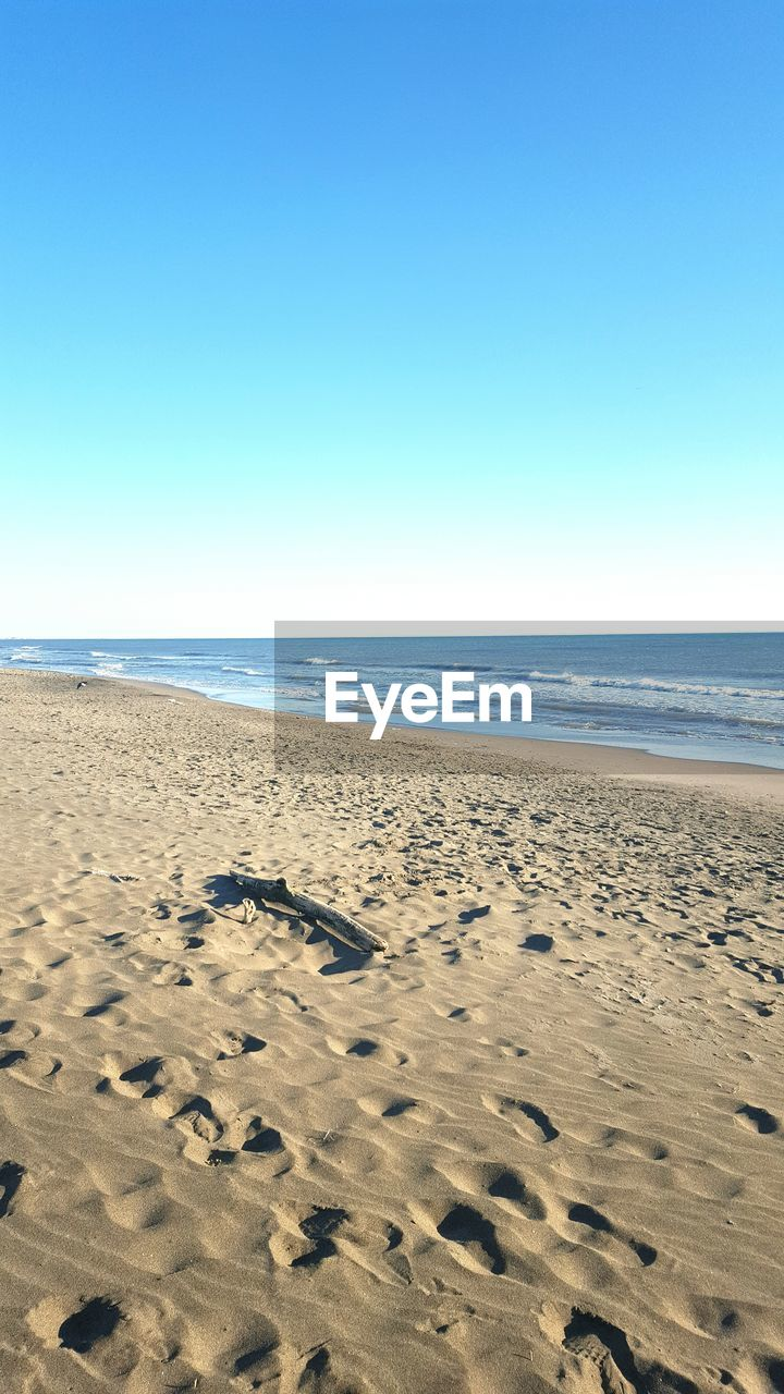 beach, sea, sand, horizon over water, nature, clear sky, water, shore, scenics, tranquility, beauty in nature, tranquil scene, footprint, copy space, no people, outdoors, day, sky, blue, sunlight