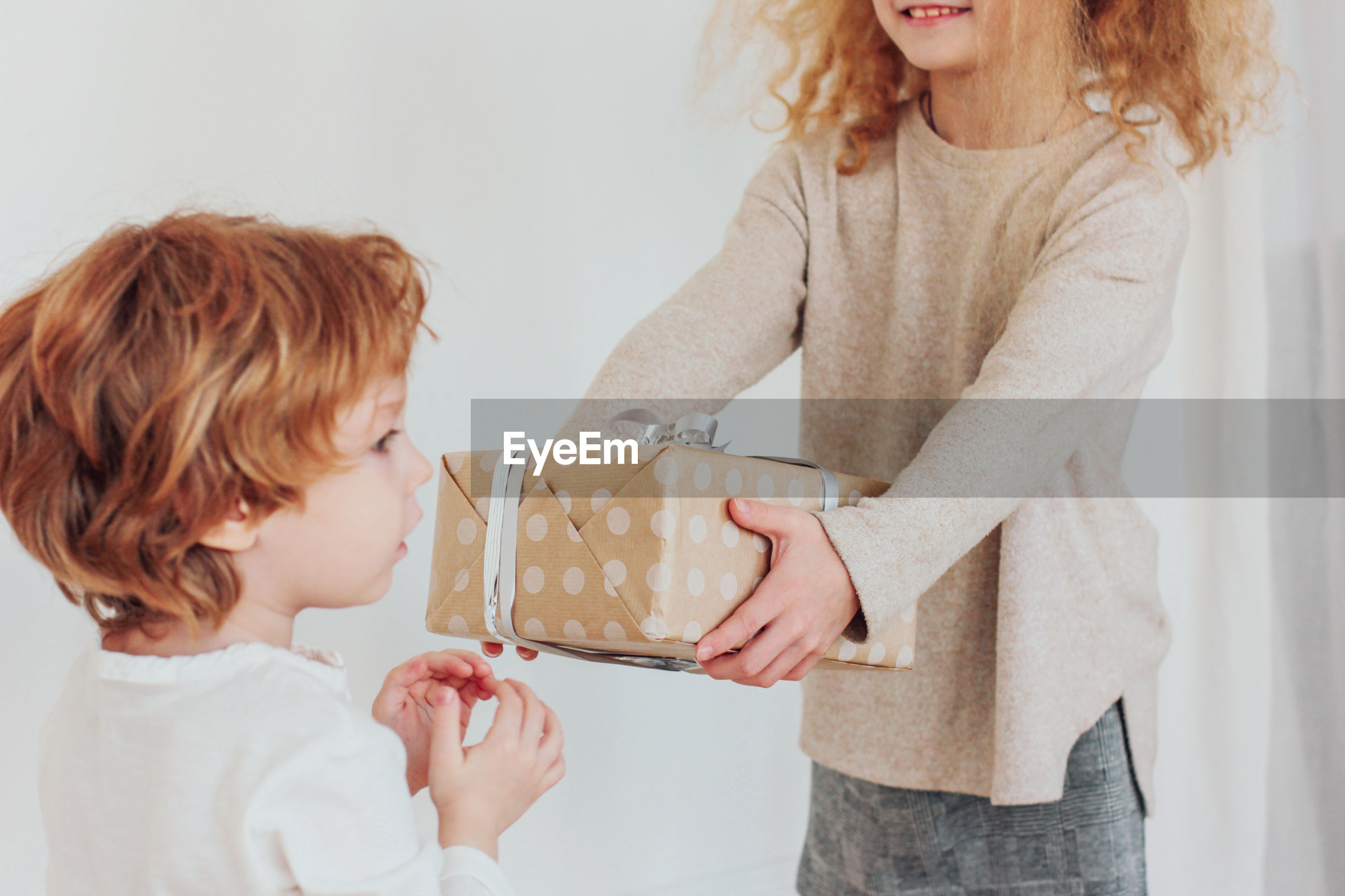 Girl giving gift box to brother at home