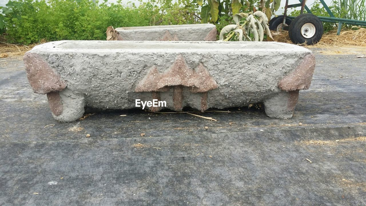 Stone Containers In Yard