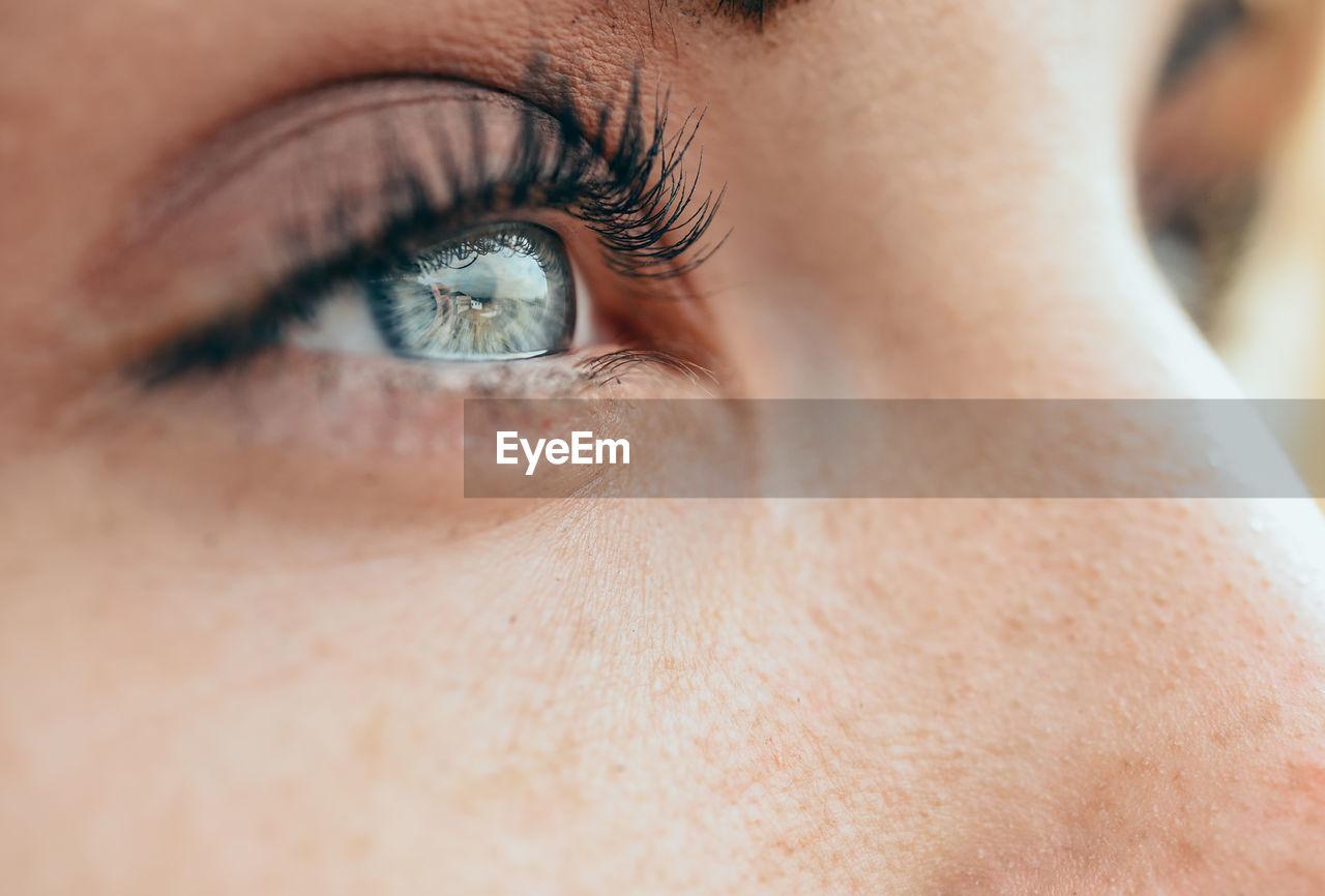 eye, human eye, eyesight, human body part, one person, close-up, eyelash, body part, sensory perception, selective focus, eyeball, real people, extreme close-up, women, adult, human skin, portrait, eyebrow, skin, human face, eyelid, iris - eye, beautiful woman