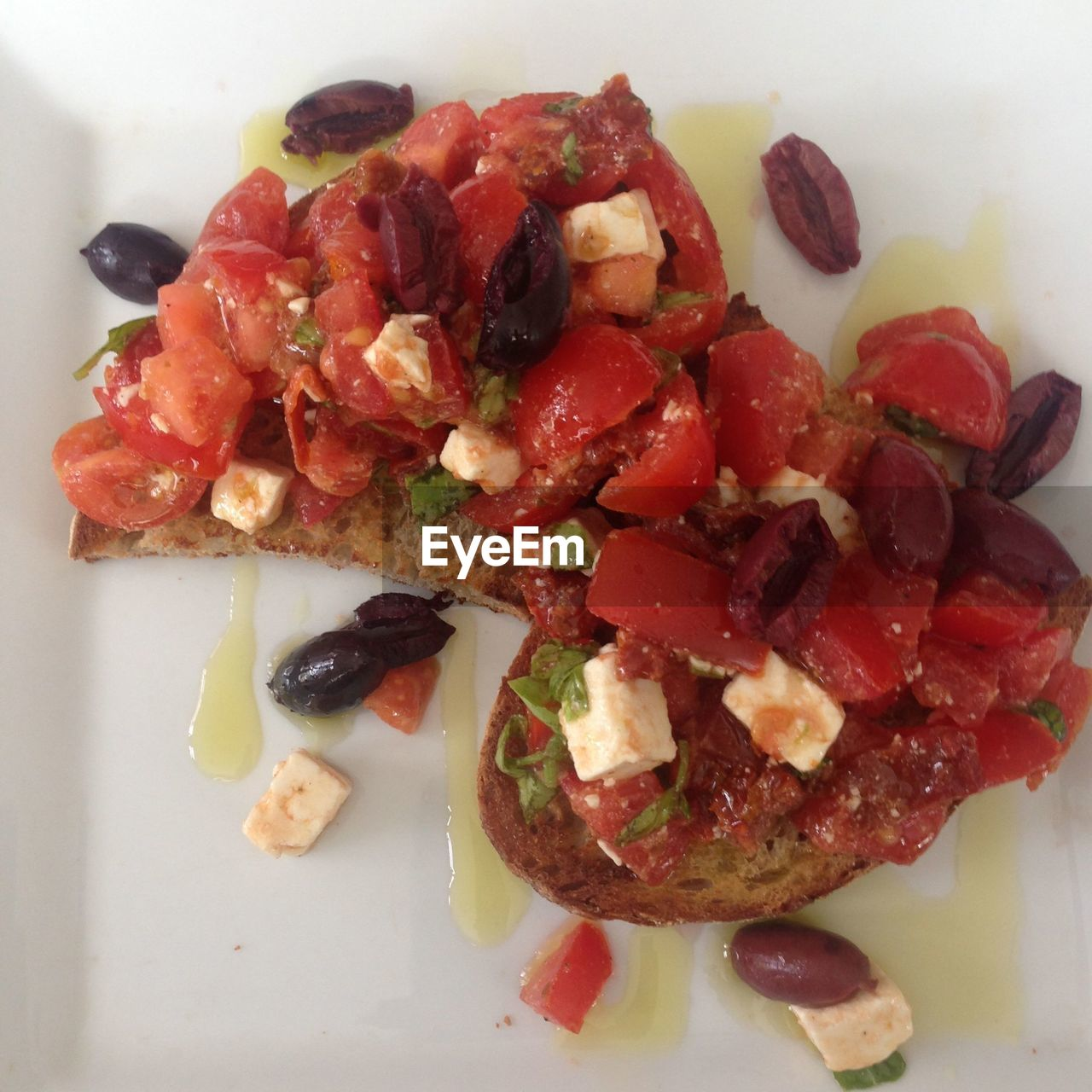 High Angle View Of Bruschetta In Plate