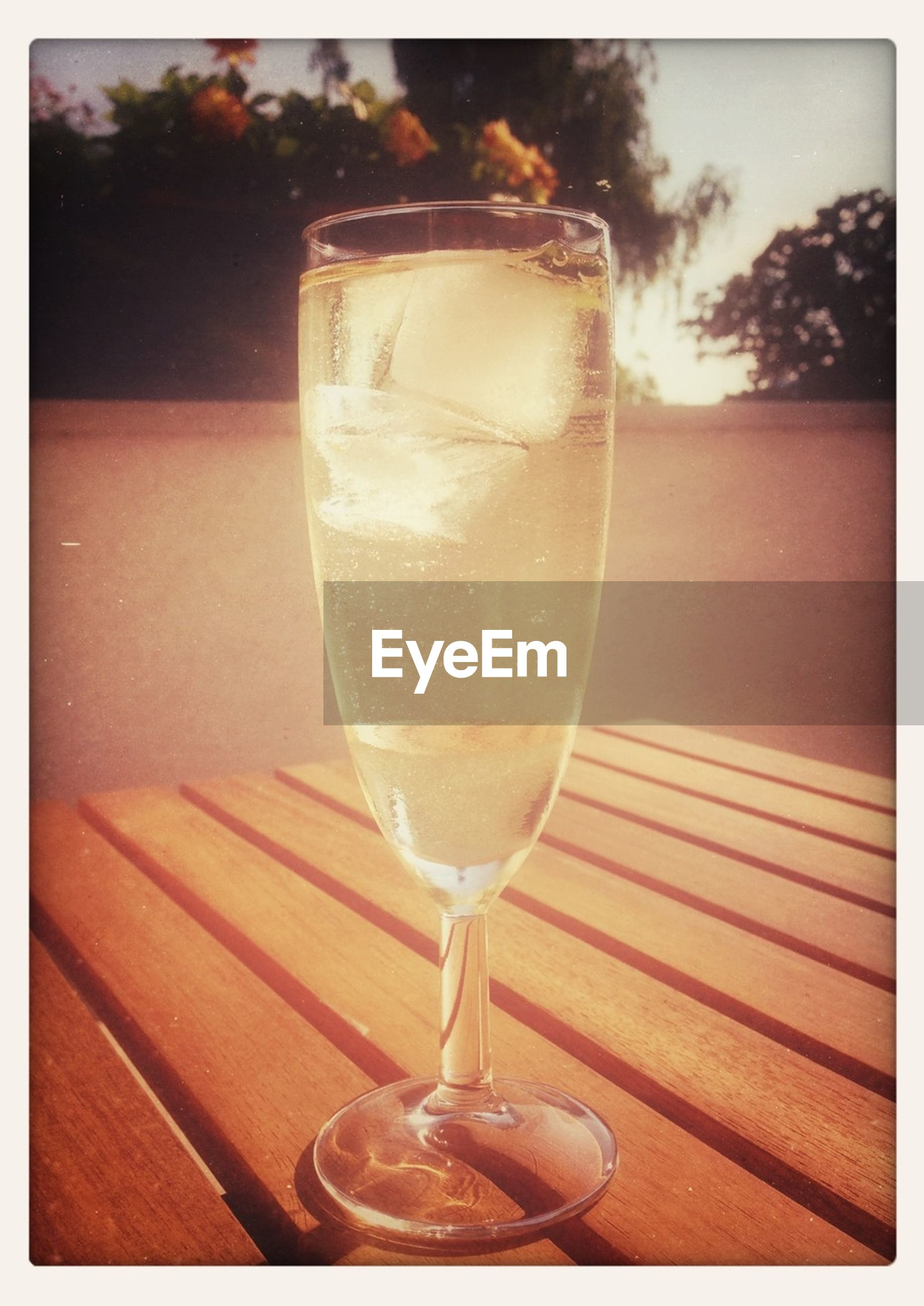 Champagne glass on table
