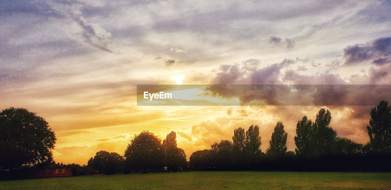 sky, cloud - sky, sunset, beauty in nature, tranquility, scenics - nature, tranquil scene, tree, plant, nature, idyllic, no people, orange color, environment, field, grass, outdoors, landscape, dramatic sky, silhouette
