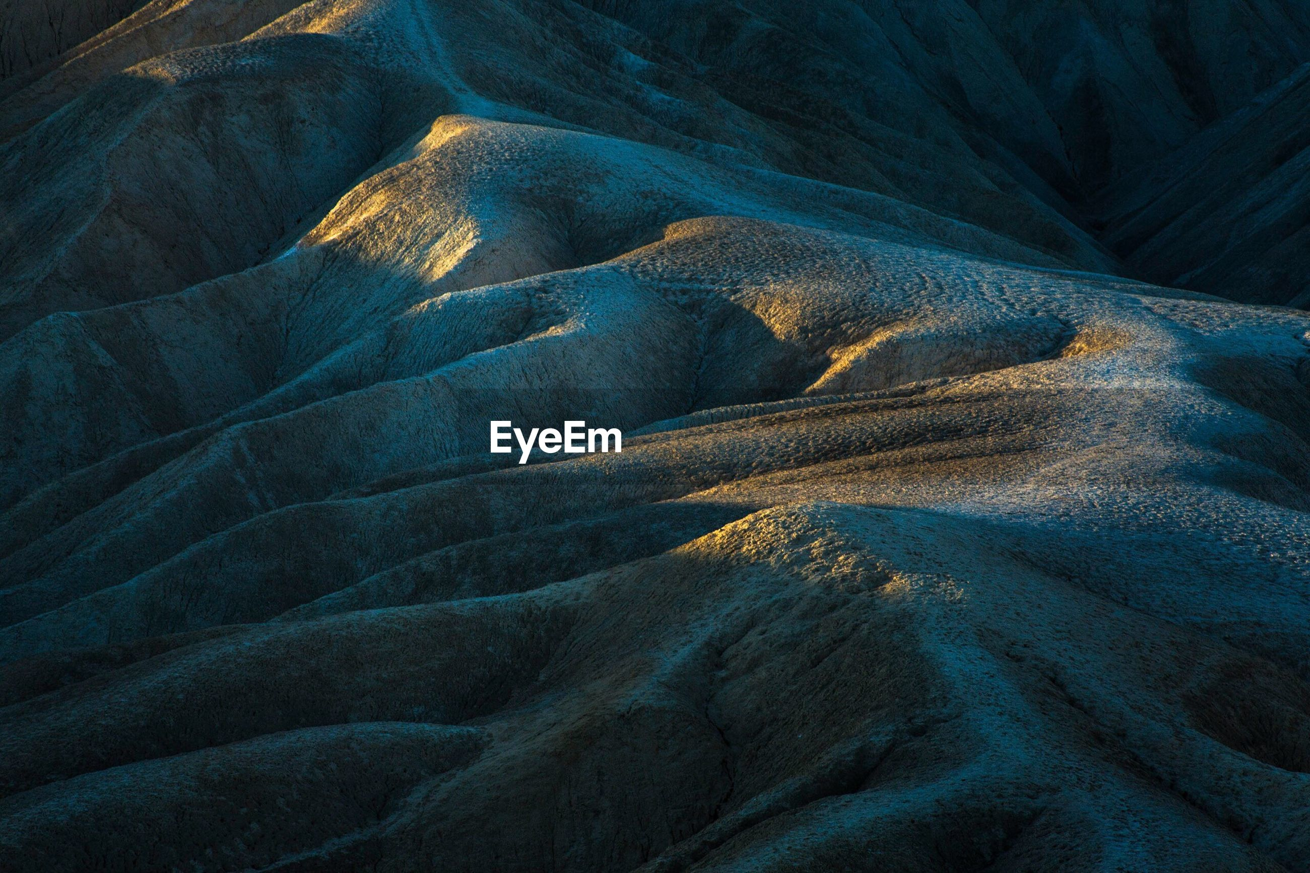 Full frame shot of dramatic landscape at zabriskie point in death valley national park