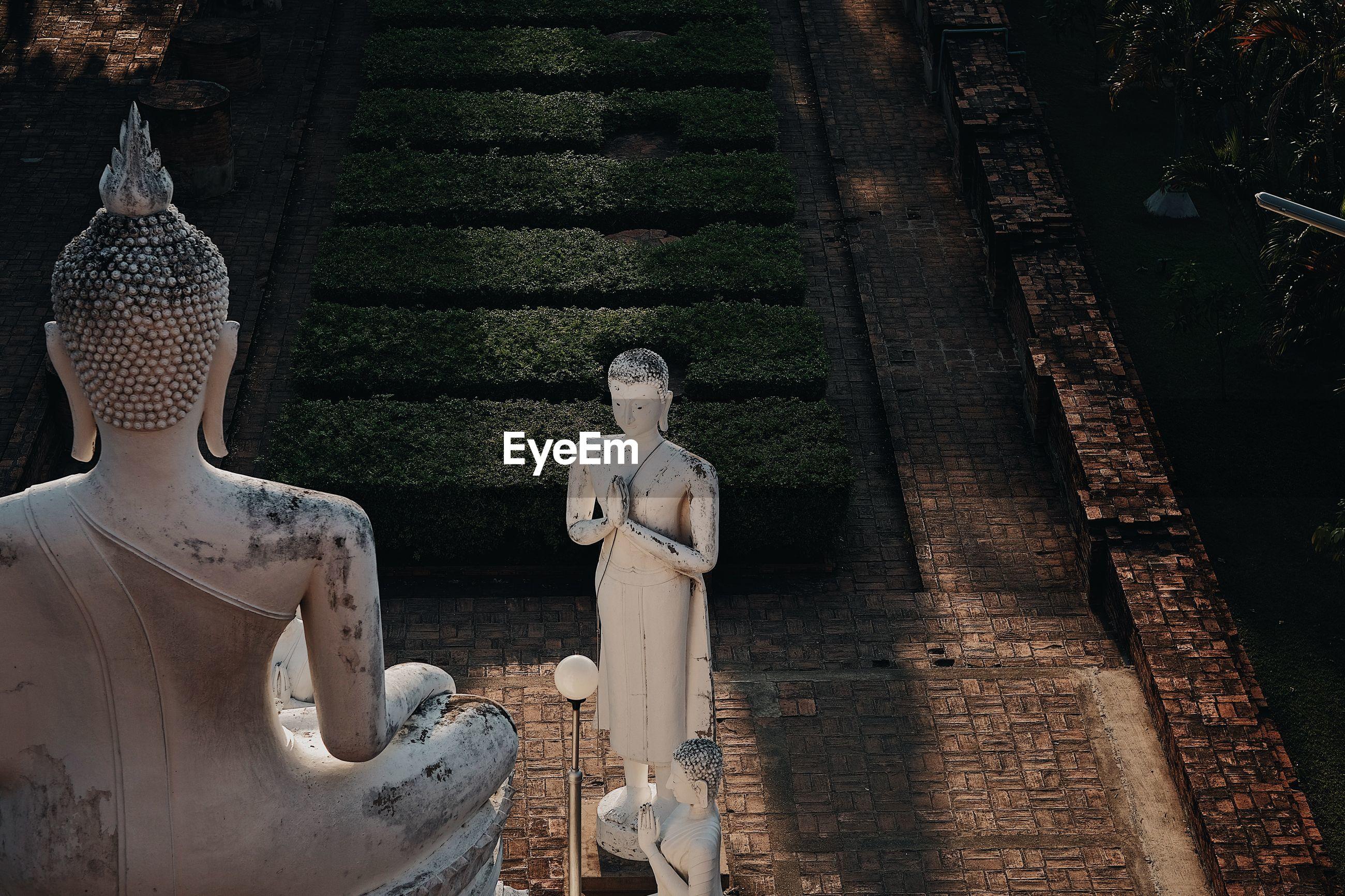High angle view of buddha statues