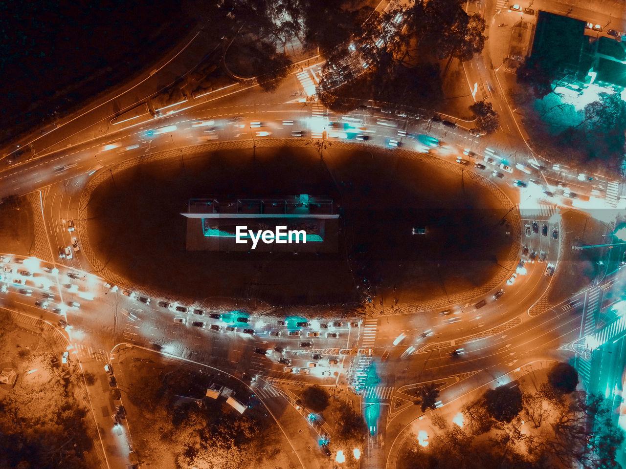 High Angle View Of Illuminated Roads At Night