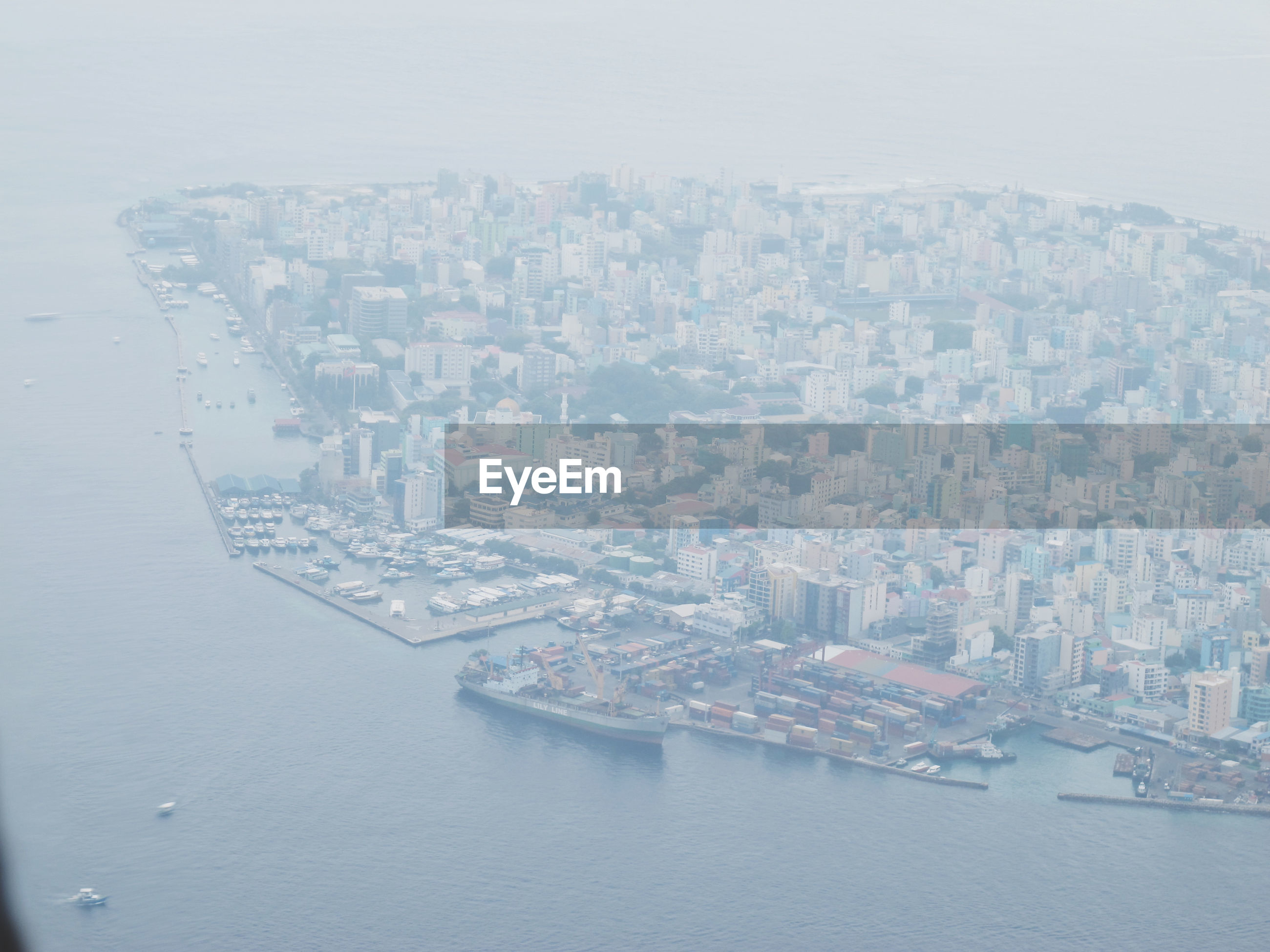 Aerial view of city on island