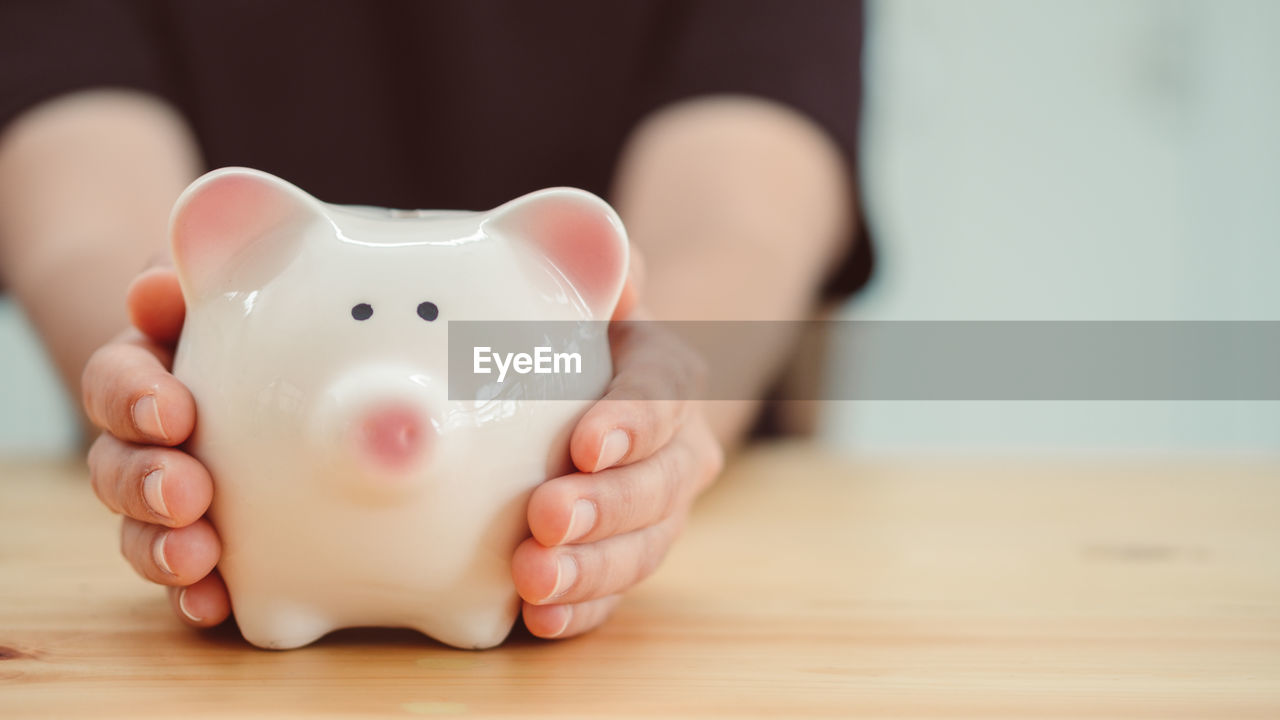 Close-Up Of Person Holding Piggy Bank On Table