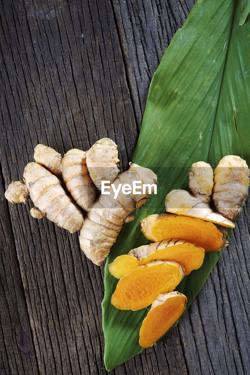 Directly above shot of turmeric on table