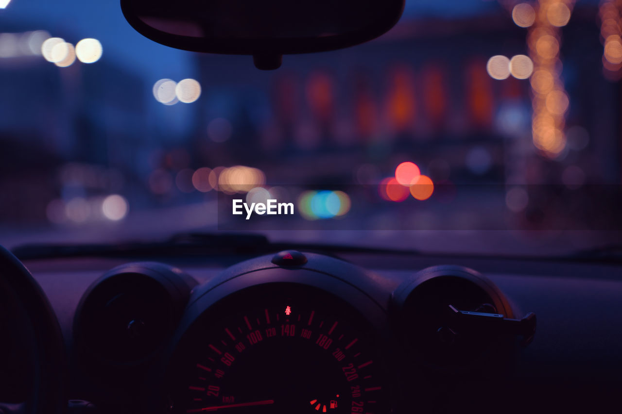 VIEW OF ILLUMINATED CAR