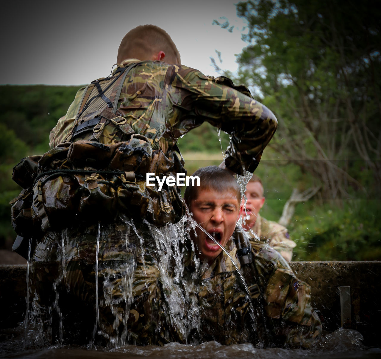 Army Soldiers Practicing In Water