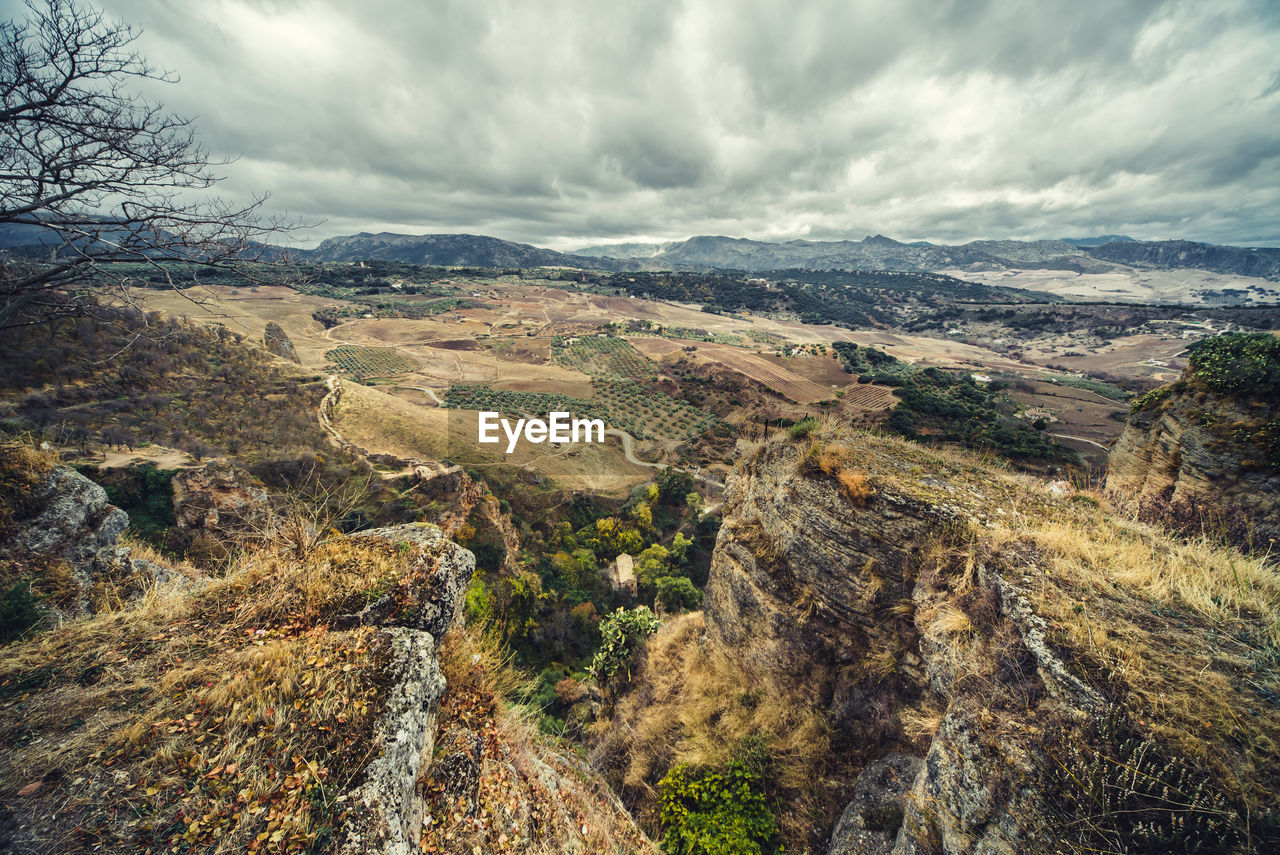 High Angle View Of Landscape Against Cloudy Sky