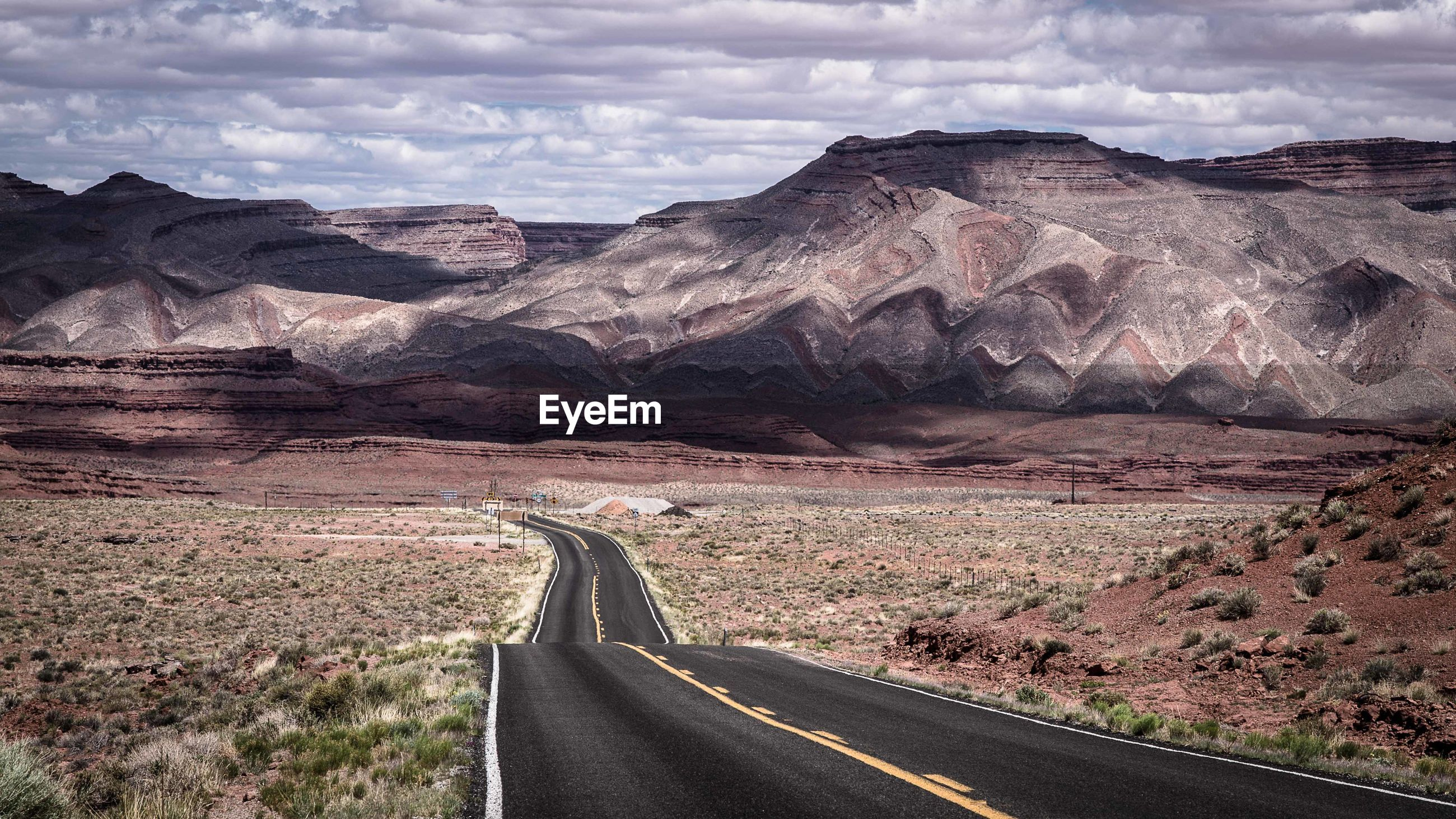View of road through desert