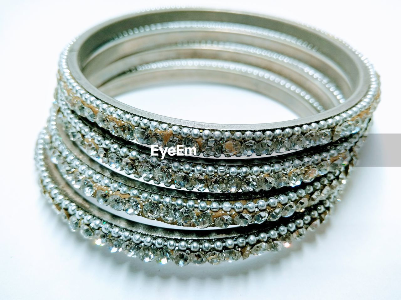 Close-up of bangles against white background