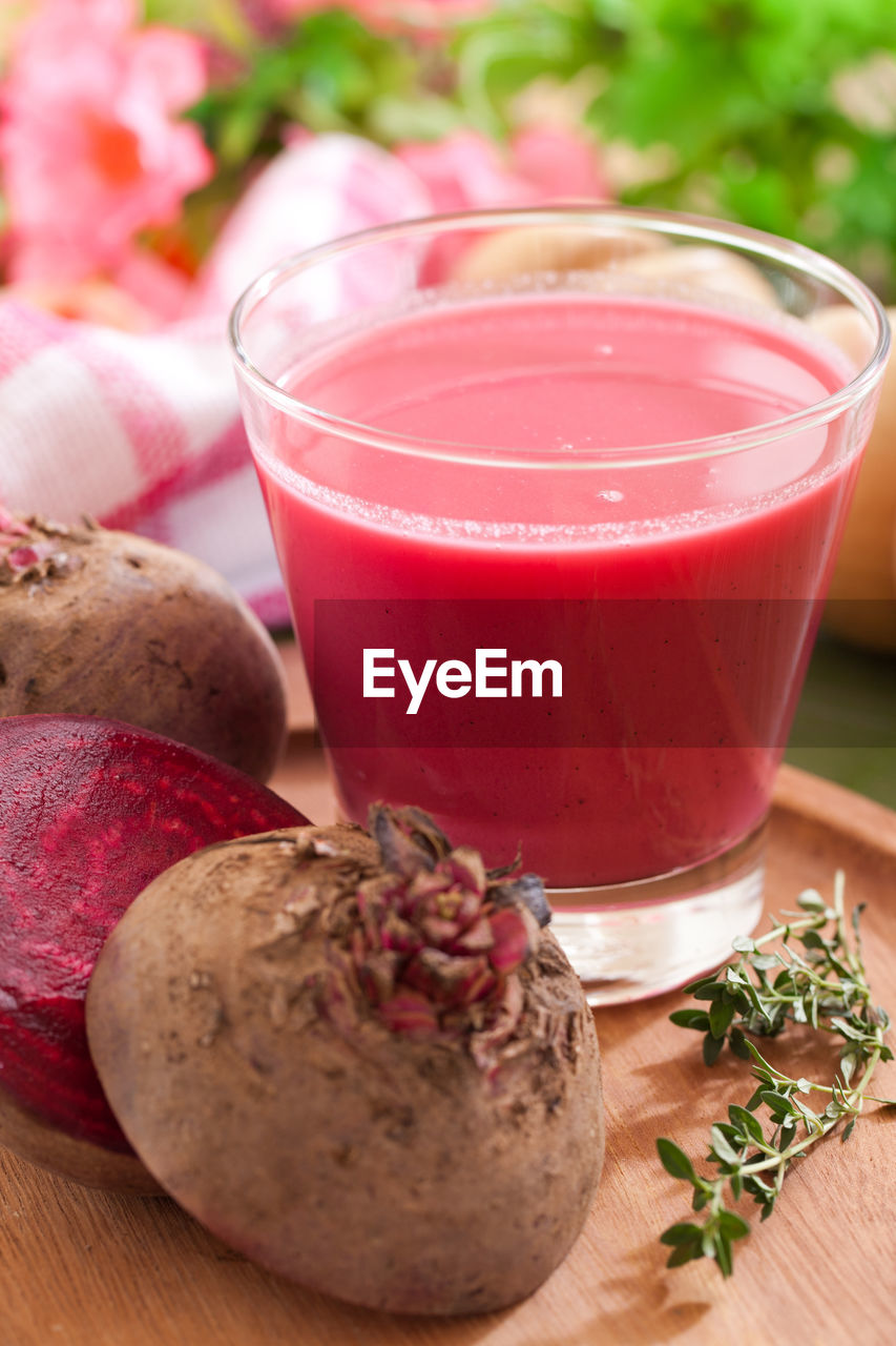 food and drink, food, freshness, healthy eating, wellbeing, drink, table, refreshment, fruit, household equipment, close-up, glass, drinking glass, indoors, no people, still life, vegetable, smoothie, herb, focus on foreground, common beet, breakfast
