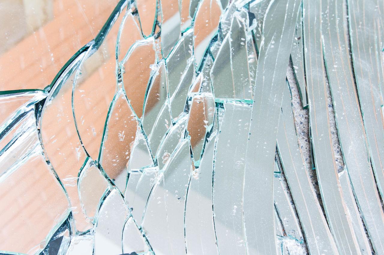 Full frame shot of cracked glass