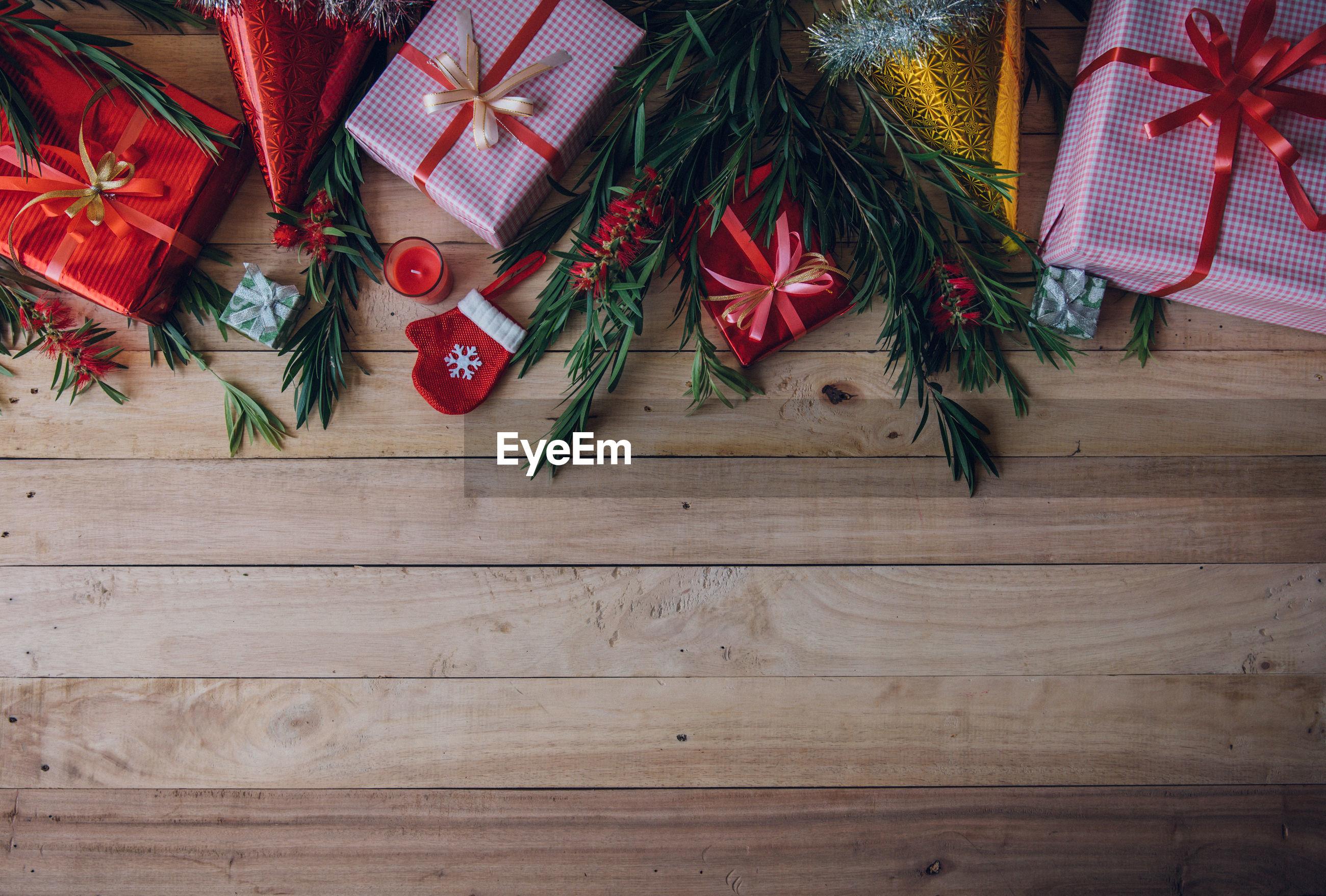 High angle view of christmas decorations on table
