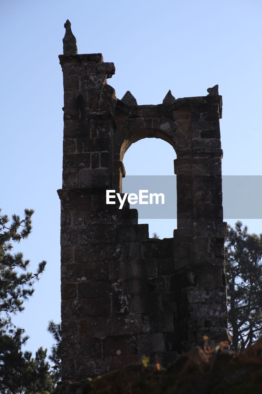 Low angle view of old ruins against clear sky