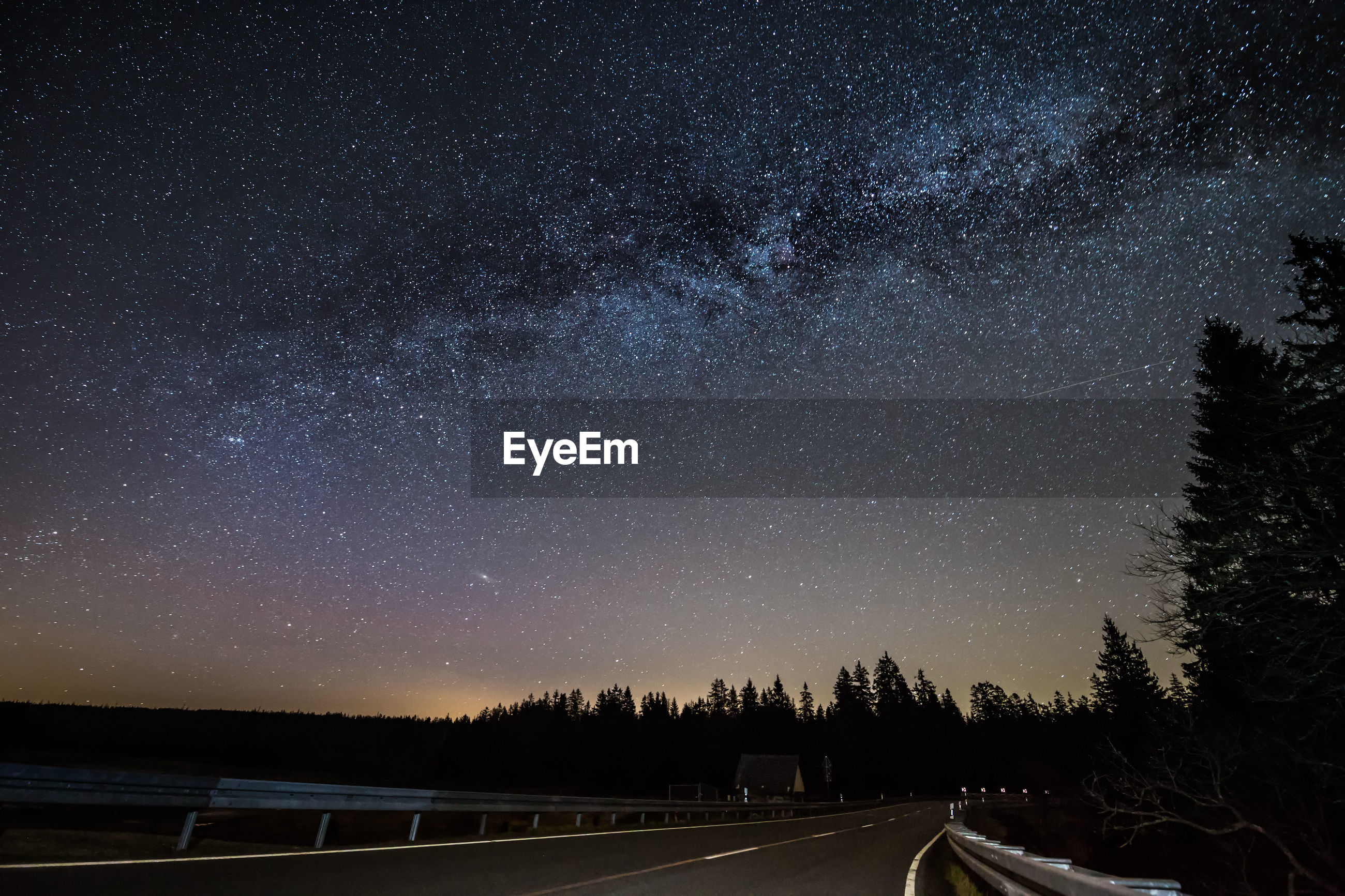 ROAD AMIDST TREES AGAINST STAR FIELD AT NIGHT