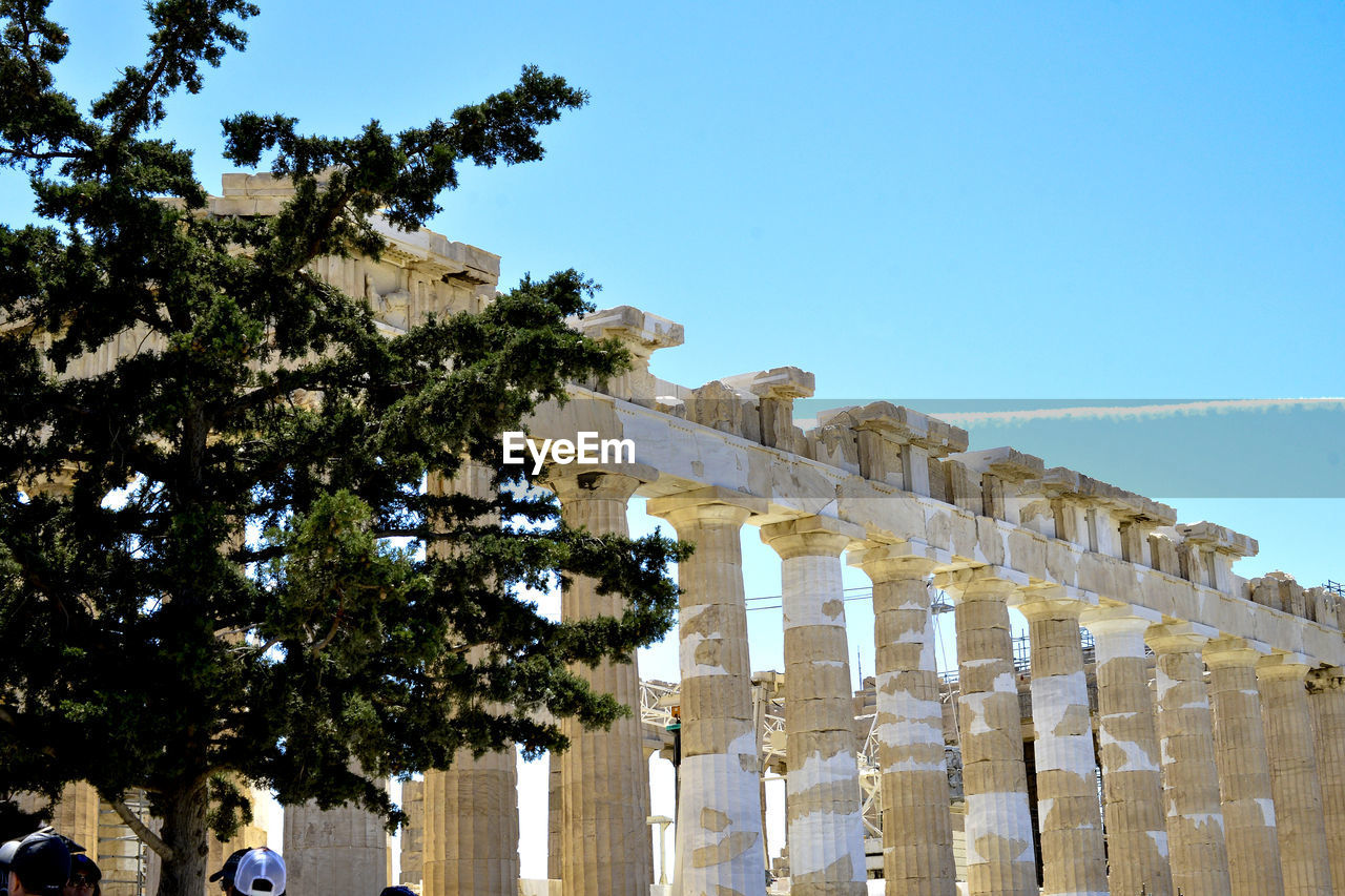 architecture, built structure, history, sky, tree, the past, nature, building exterior, ancient, day, plant, clear sky, travel destinations, travel, low angle view, tourism, ancient civilization, old ruin, no people, place of worship, outdoors, architectural column, archaeology