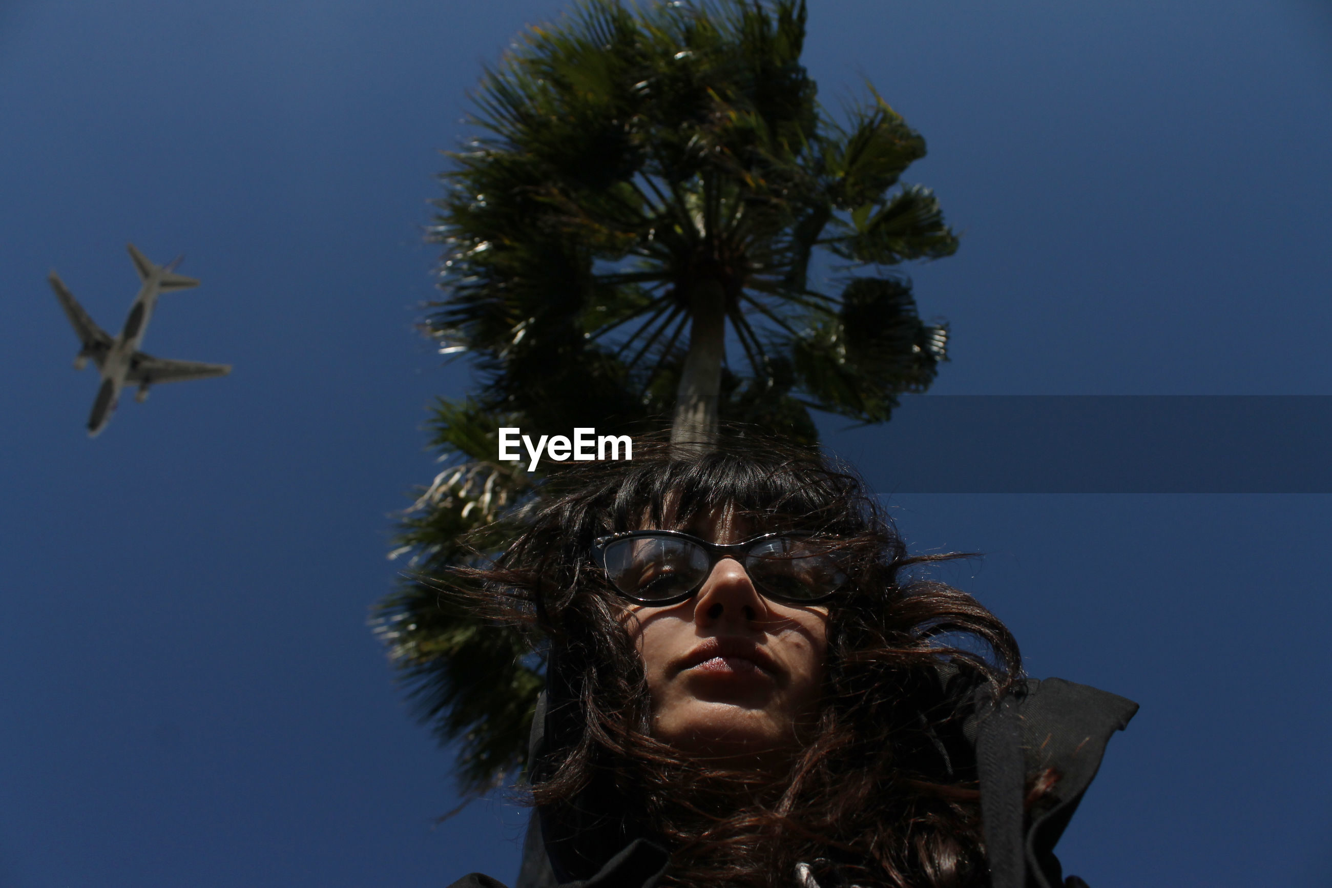 Optical illusion of young woman carrying tree against clear blue sky