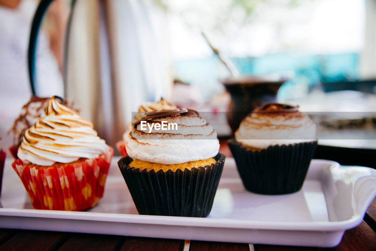 Close-Up Of Cupcakes In Tray