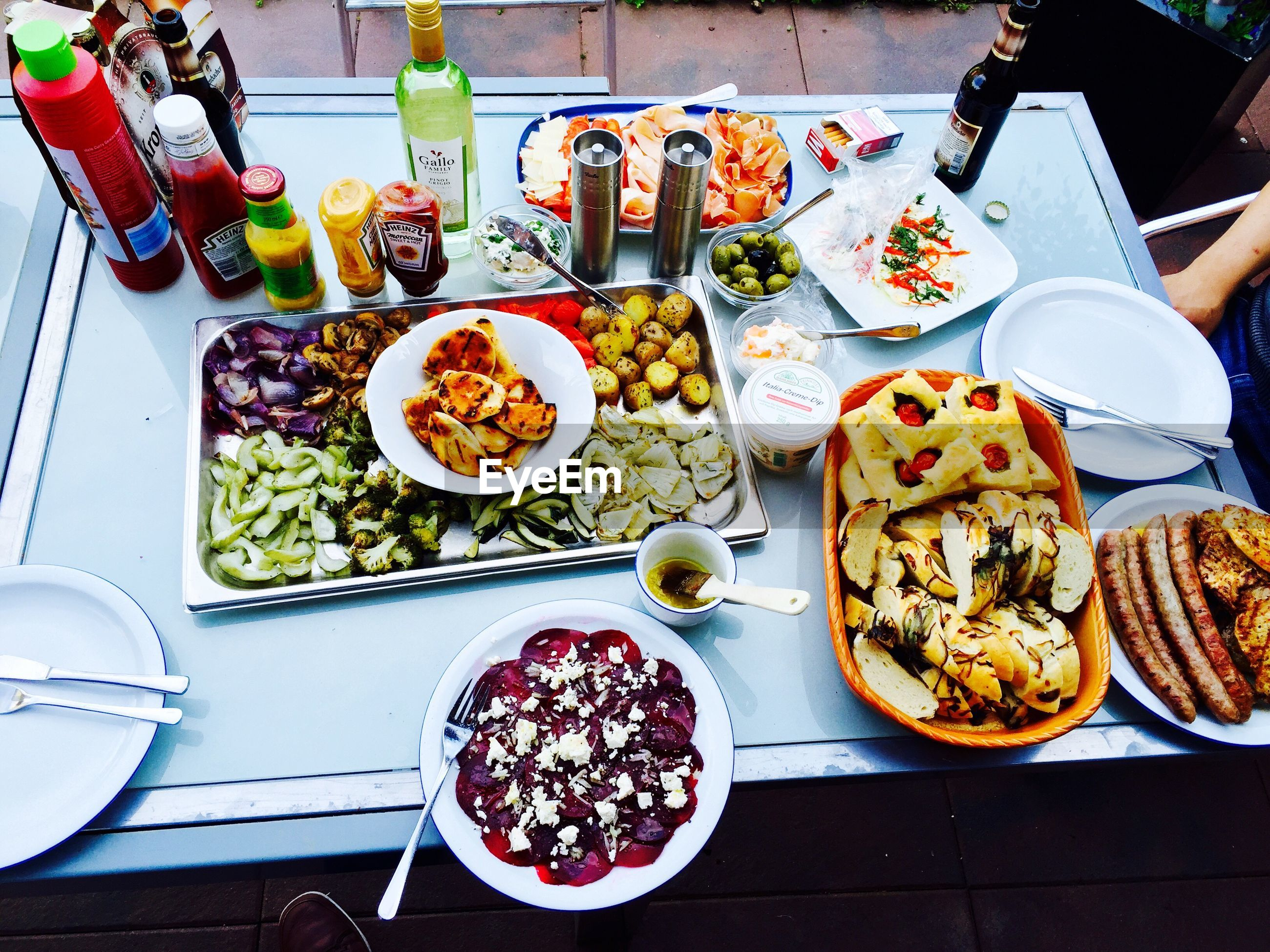 food and drink, food, freshness, plate, ready-to-eat, table, indoors, healthy eating, high angle view, bowl, still life, serving size, meal, salad, variation, vegetable, directly above, served, fork, meat