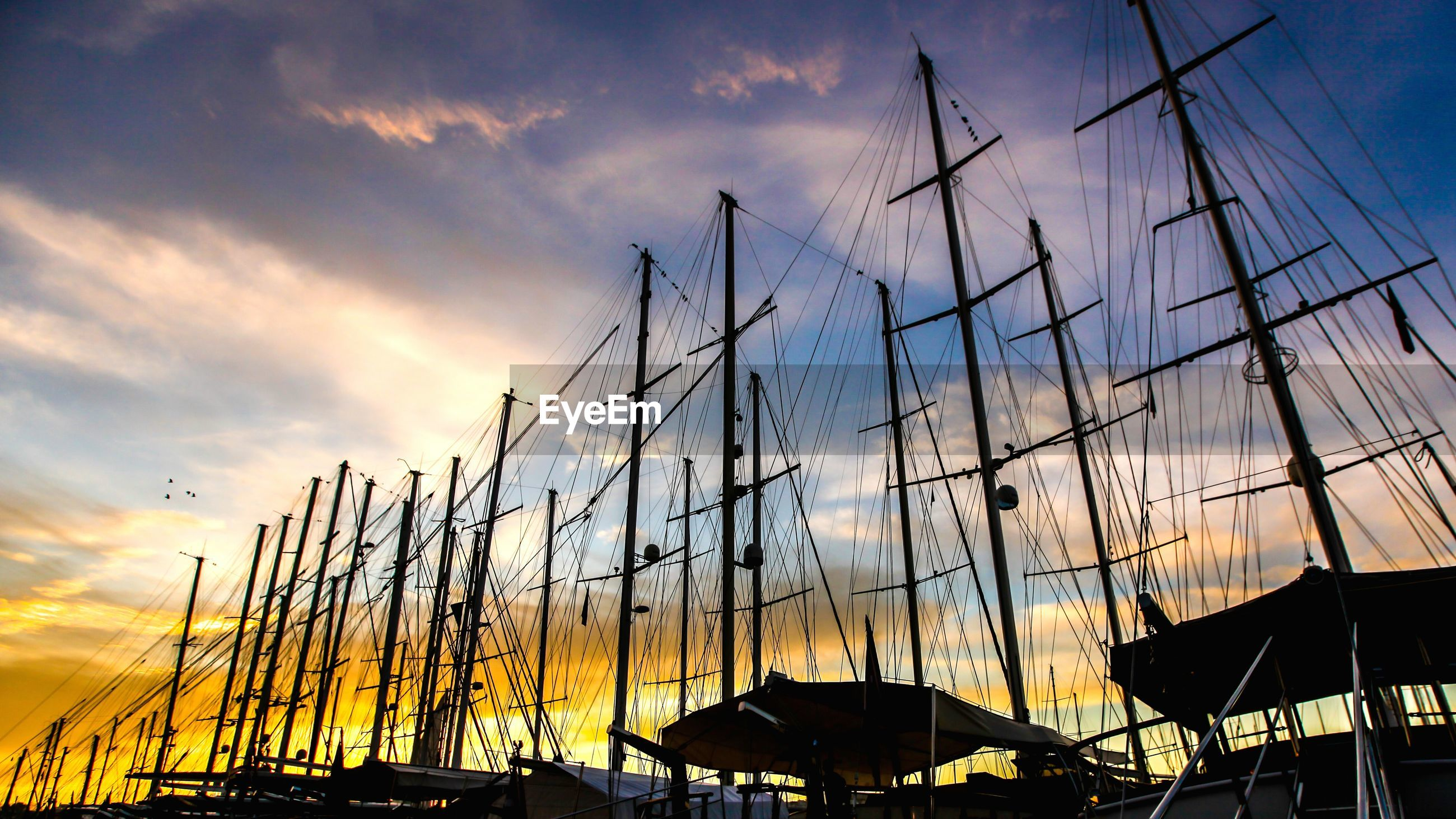 Low angle view of silhouette masts against cloudy sky during sunset