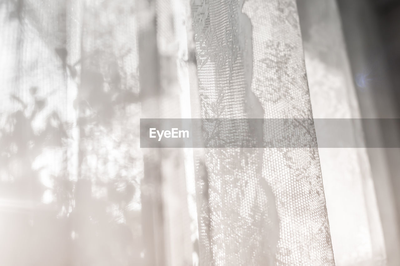curtain, textile, window, selective focus, no people, close-up, pattern, day, indoors, nature, sunlight, textured, backgrounds, full frame, glass - material, white color, see through, transparent, softness