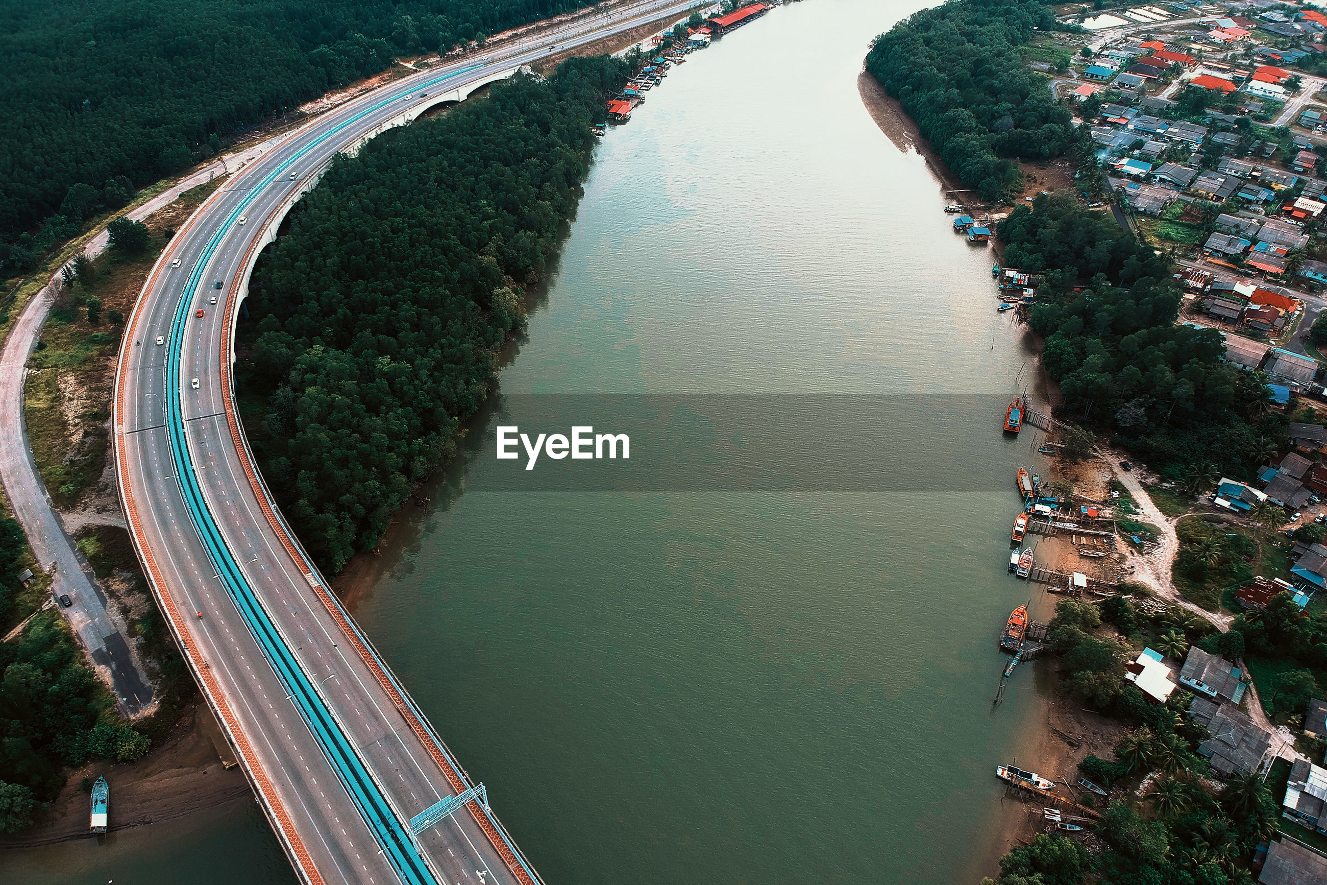 High angle view of bridge over lake in city