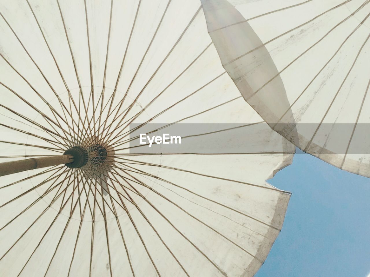 pattern, protection, umbrella, day, security, parasol, low angle view, no people, safety, close-up, outdoors, shelter, sky, design, nature, architecture, sunshade, blue