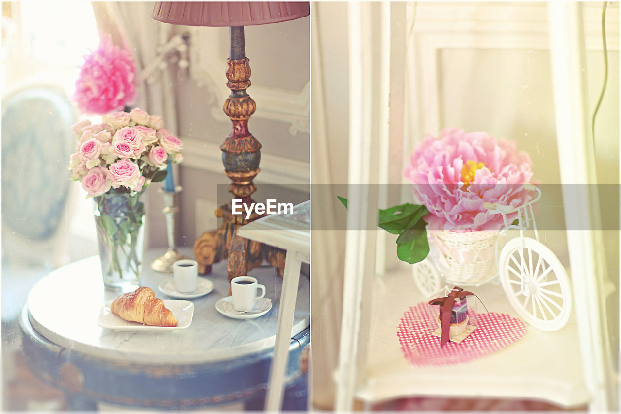 flower, vase, table, indoors, no people, curtain, window, home interior, day, pink color, bouquet, close-up, fragility, flower head, freshness