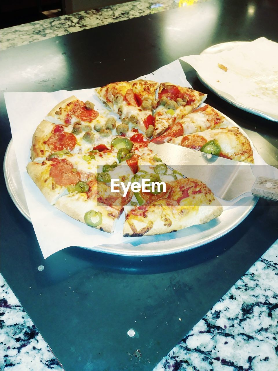 food, food and drink, ready-to-eat, freshness, table, plate, still life, pizza, indoors, serving size, high angle view, indulgence, no people, close-up, healthy eating, meal, snack, wellbeing, vegetable, temptation, crockery, tray