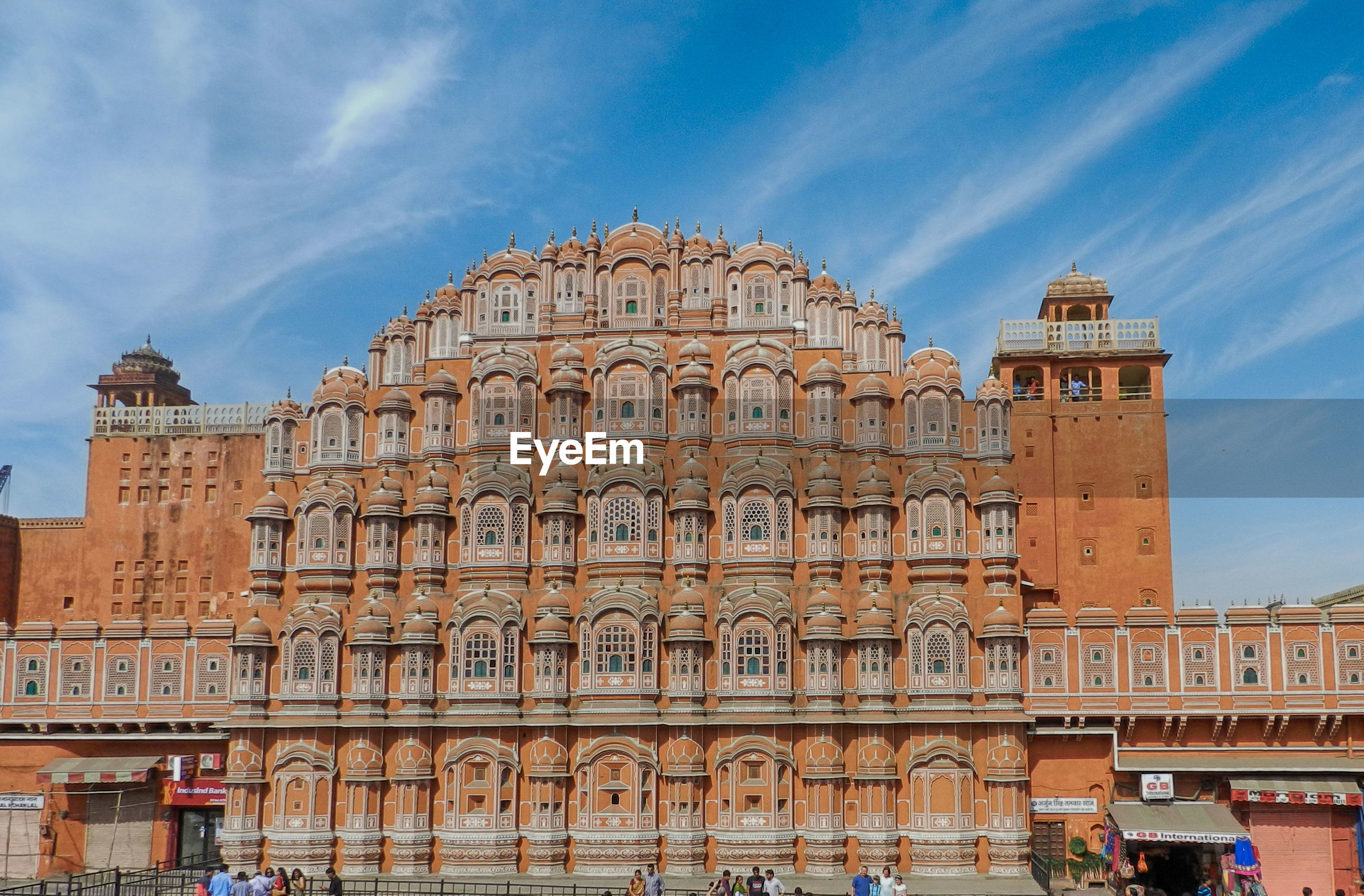Low angle view of historic hawa mahal against sky