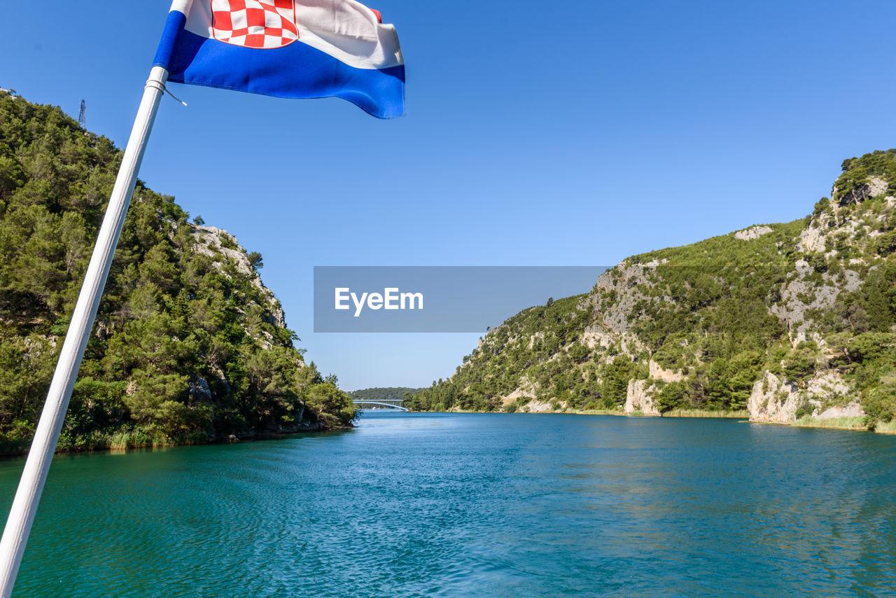 Croatian flag by river