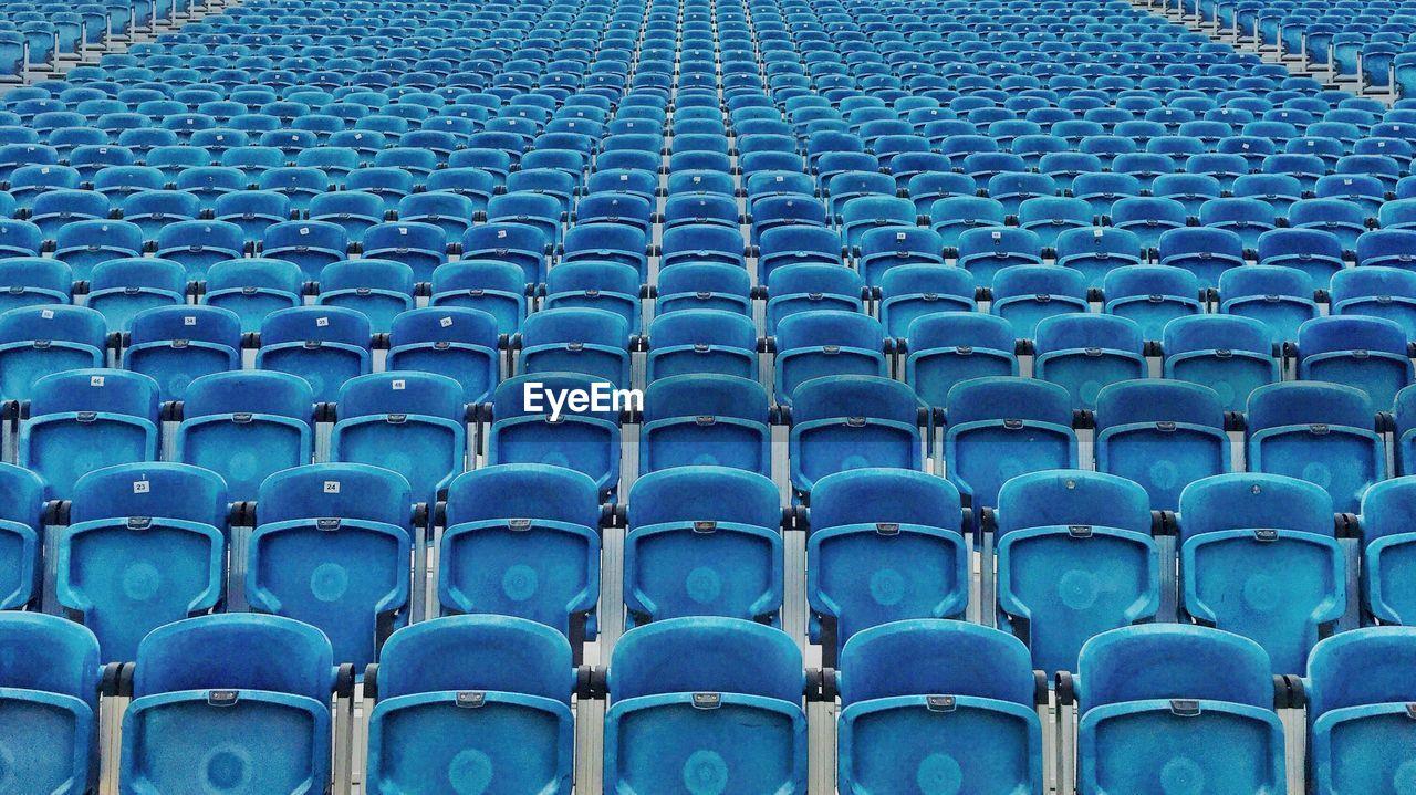 Full frame shot of bleachers in stadium