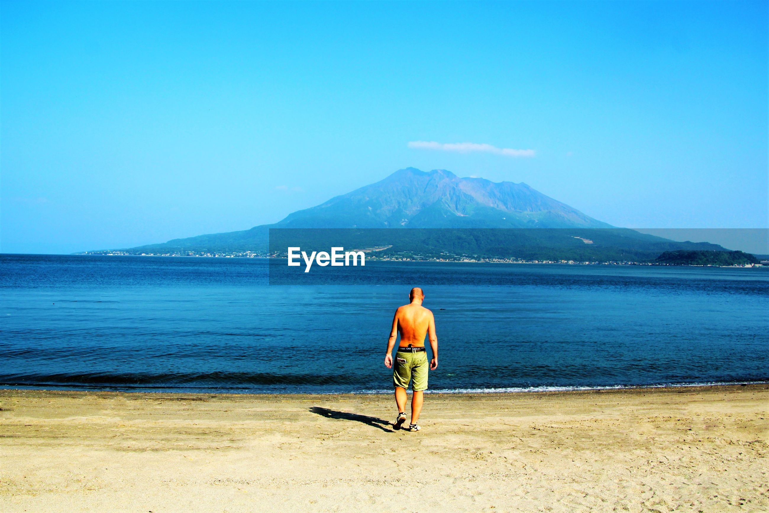 Rear view full length of man walking at beach on sunny day