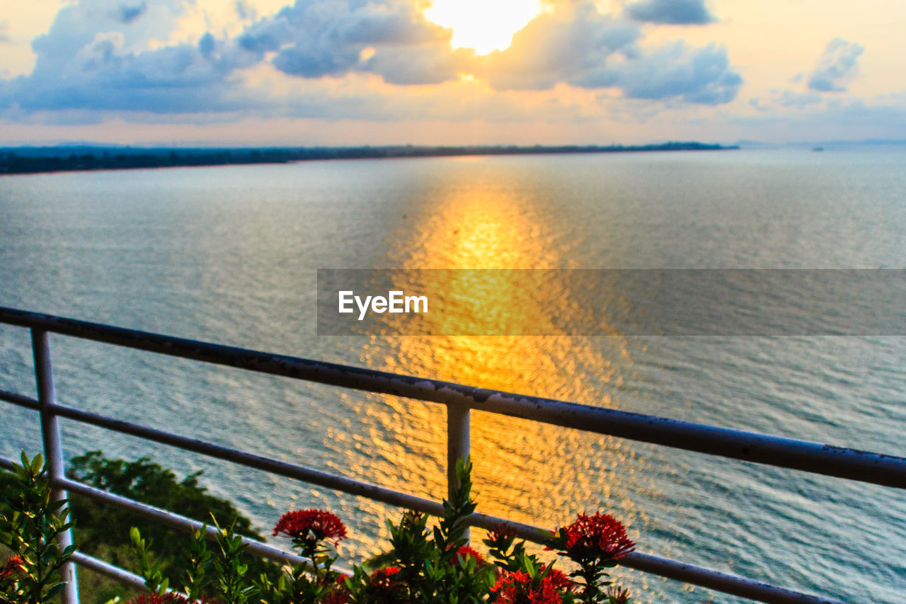 water, nature, beauty in nature, sea, sky, sunset, railing, scenics, tranquility, tranquil scene, outdoors, no people, flower, cloud - sky, horizon over water, day