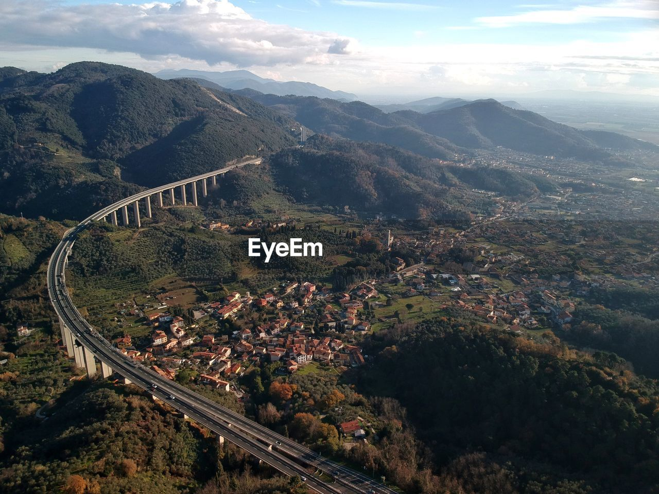 High angle view of small city in italy