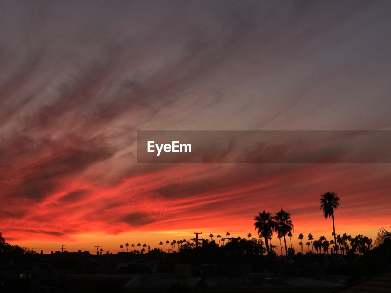 sunset, beauty in nature, orange color, tree, sky, dramatic sky, silhouette, nature, scenics, cloud - sky, tranquil scene, no people, tranquility, built structure, palm tree, outdoors, building exterior, architecture, day