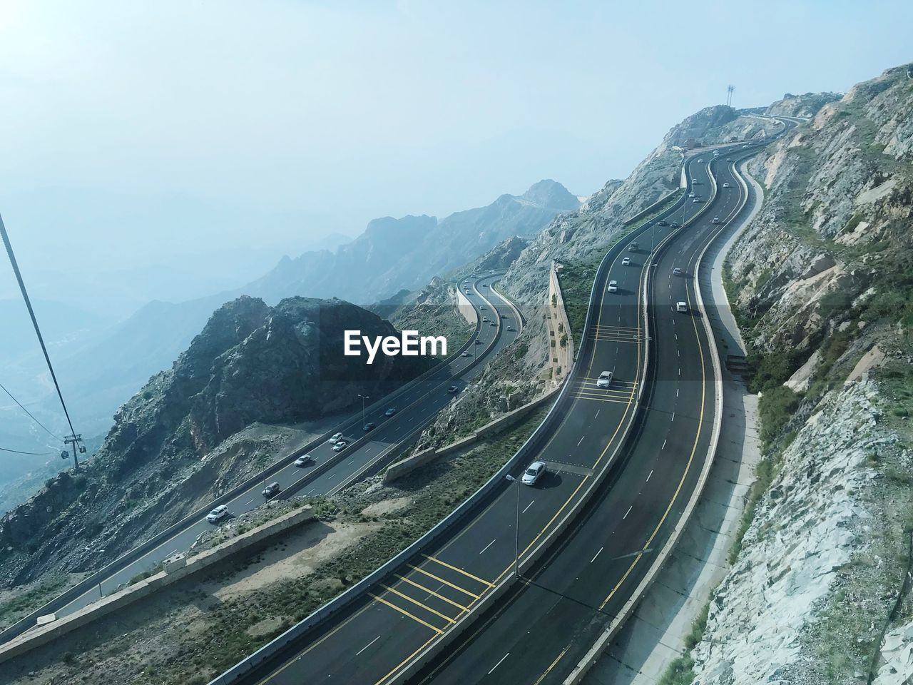 Aerial View Of Mountain Road Against Sky