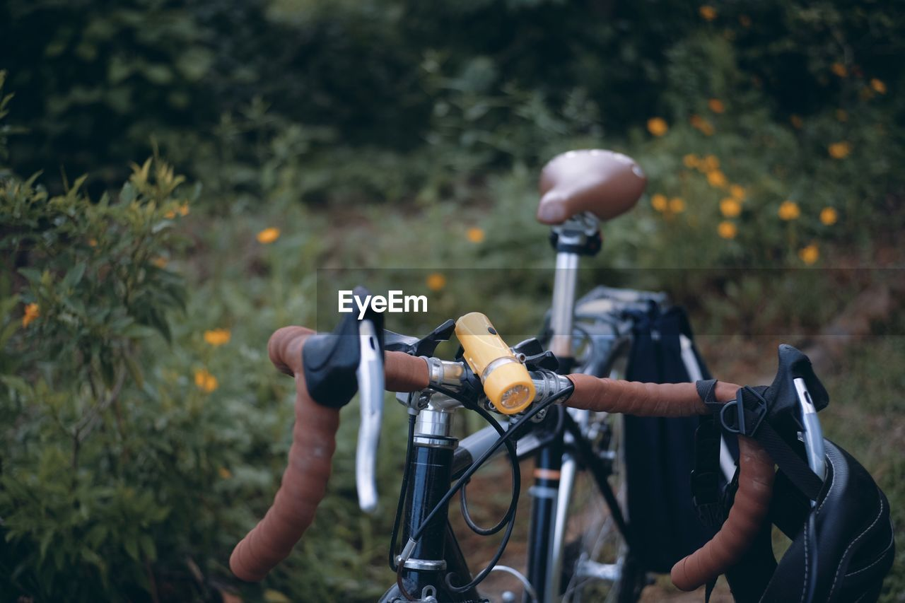 bicycle, handlebar, land vehicle, transportation, focus on foreground, plant, mode of transportation, day, nature, handle, field, one person, land, outdoors, stationary, close-up, metal, hand, sport