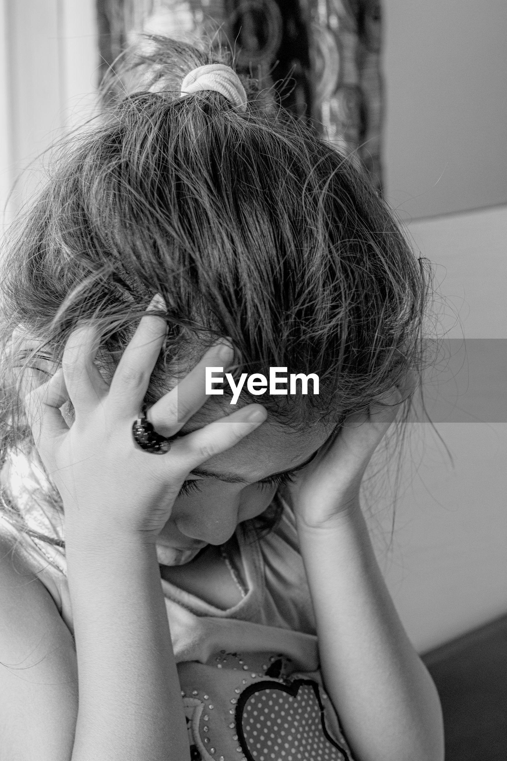 Close up of girl depressed