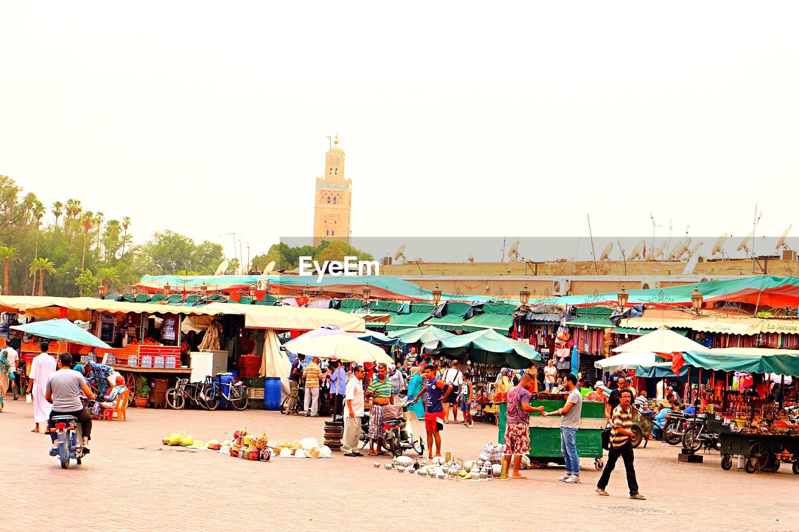 People at street market